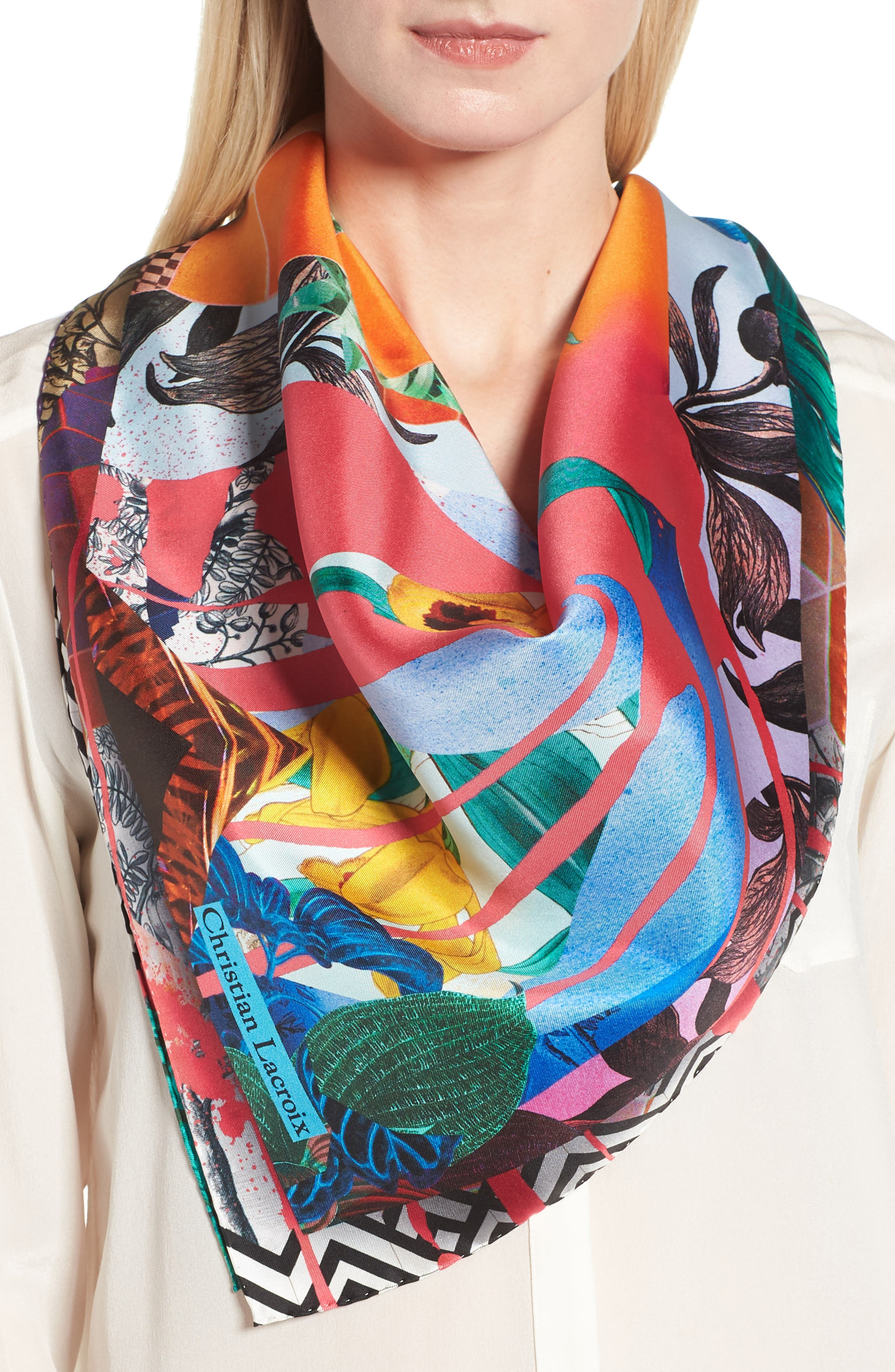 Bayou Fantasy Silk Square Scarf,                             Alternate thumbnail 2, color,                             610