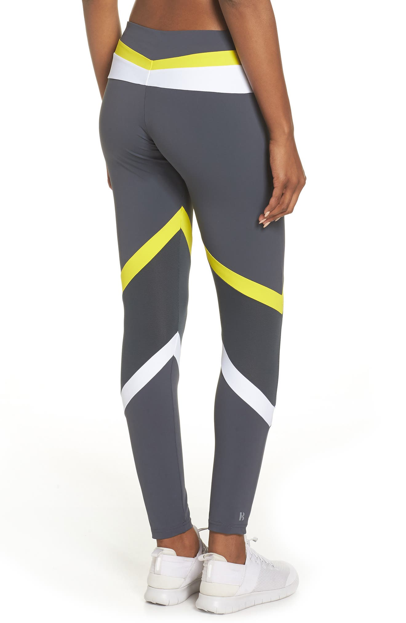 BoomBoom Athletica Tricolor Leggings,                             Alternate thumbnail 2, color,                             GREY/ WHITE/ YELLOW