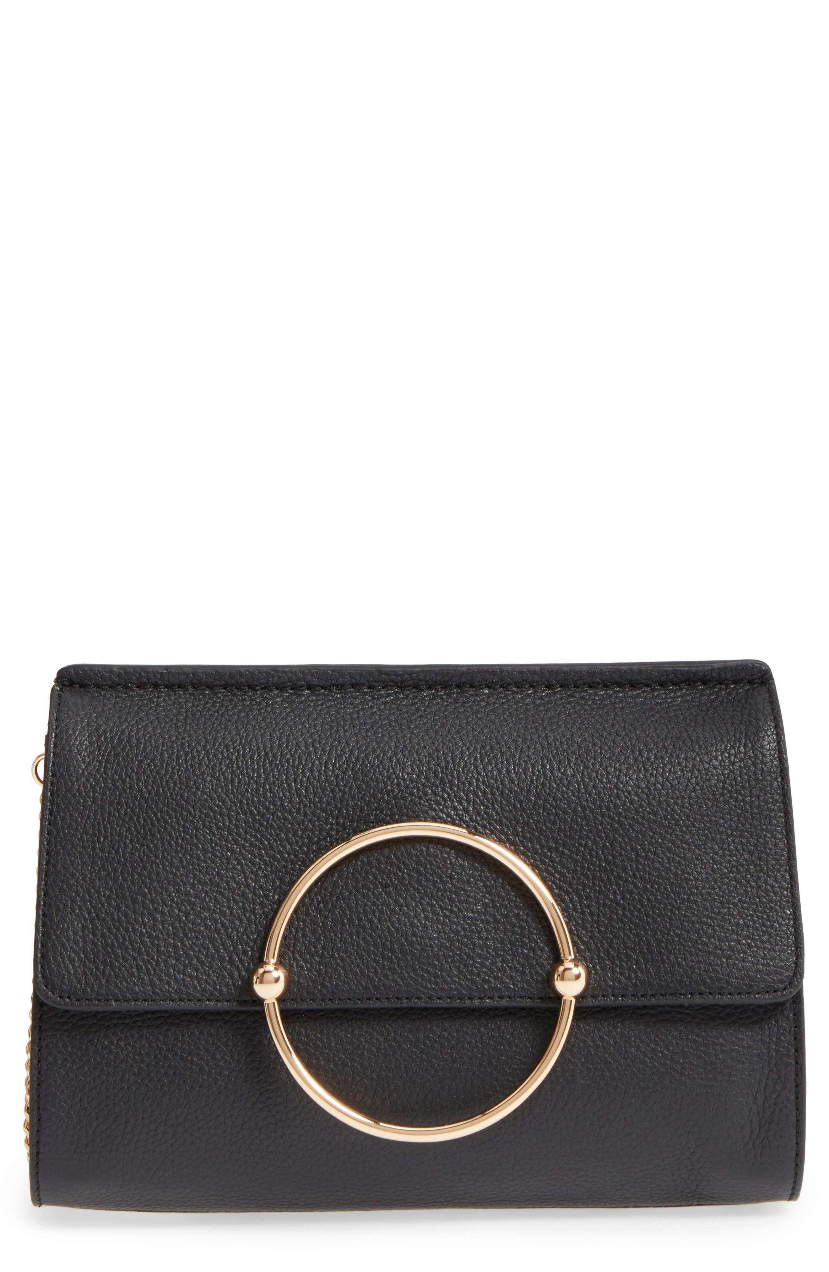 Astor Pebbled Leather Flap Clutch,                             Main thumbnail 1, color,