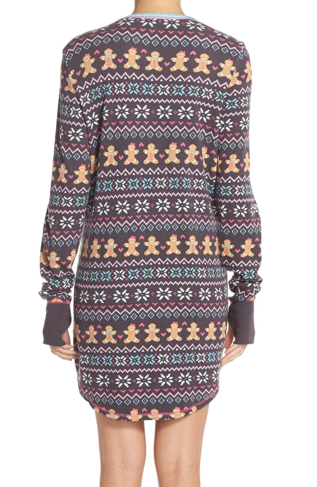Thermal Knit Sleep Shirt,                             Alternate thumbnail 5, color,                             011