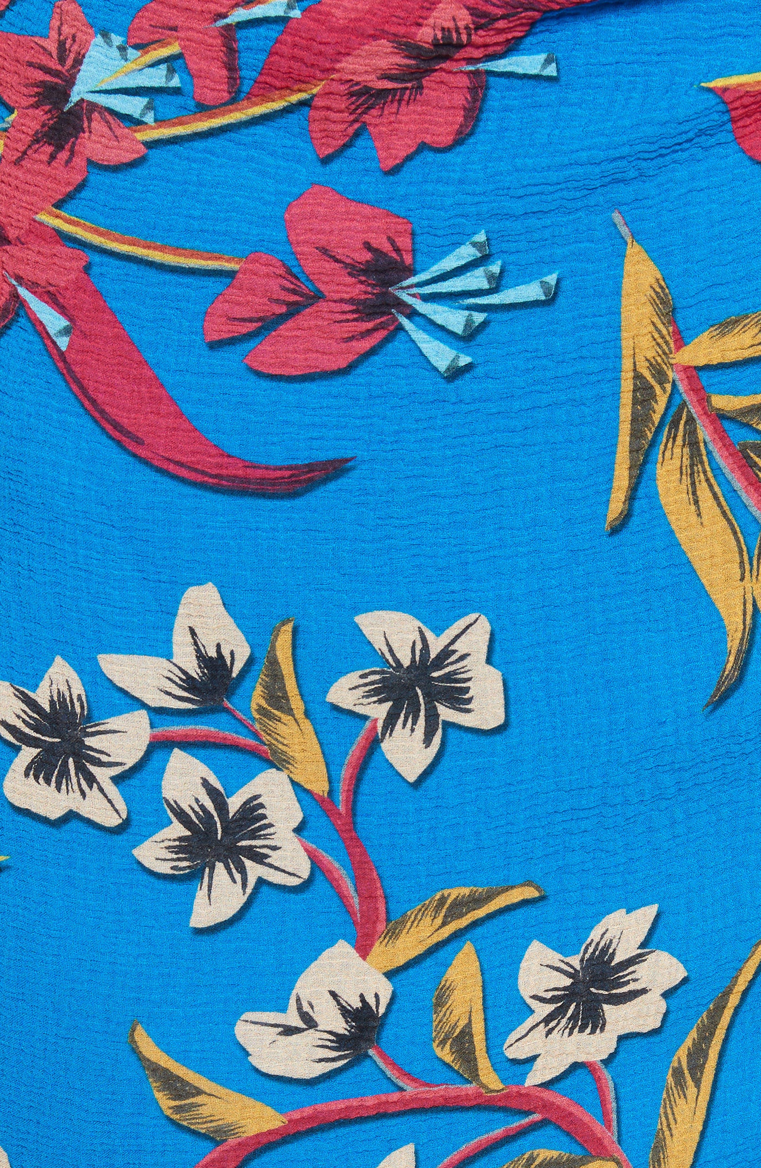 Jungle Floral Print Asymmetrical Ruffle Dress,                             Alternate thumbnail 5, color,                             410