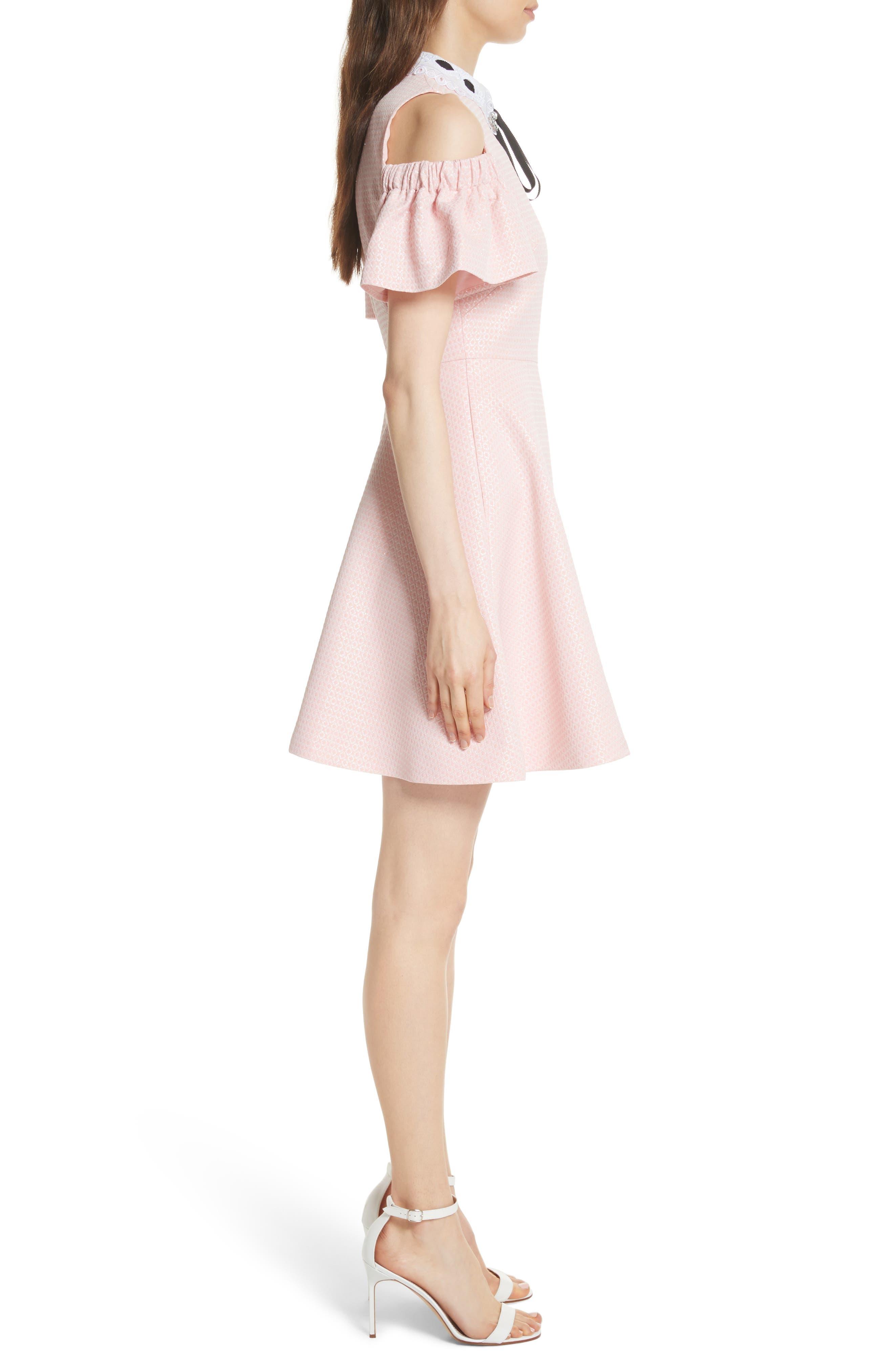 Cold Shoulder Skater Dress,                             Alternate thumbnail 6, color,
