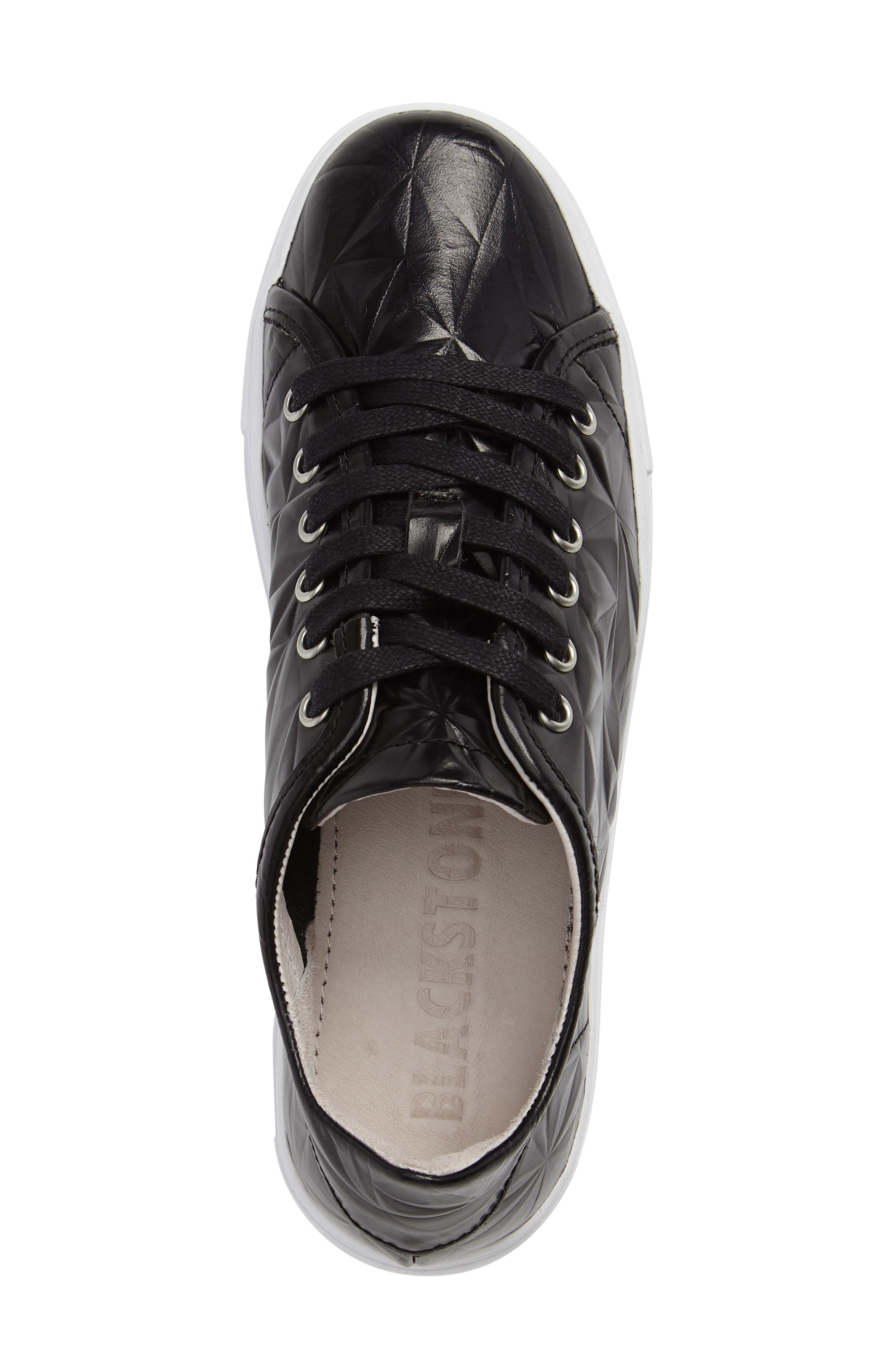 NL34 Faceted Sneaker,                             Alternate thumbnail 3, color,                             BLACK LEATHER