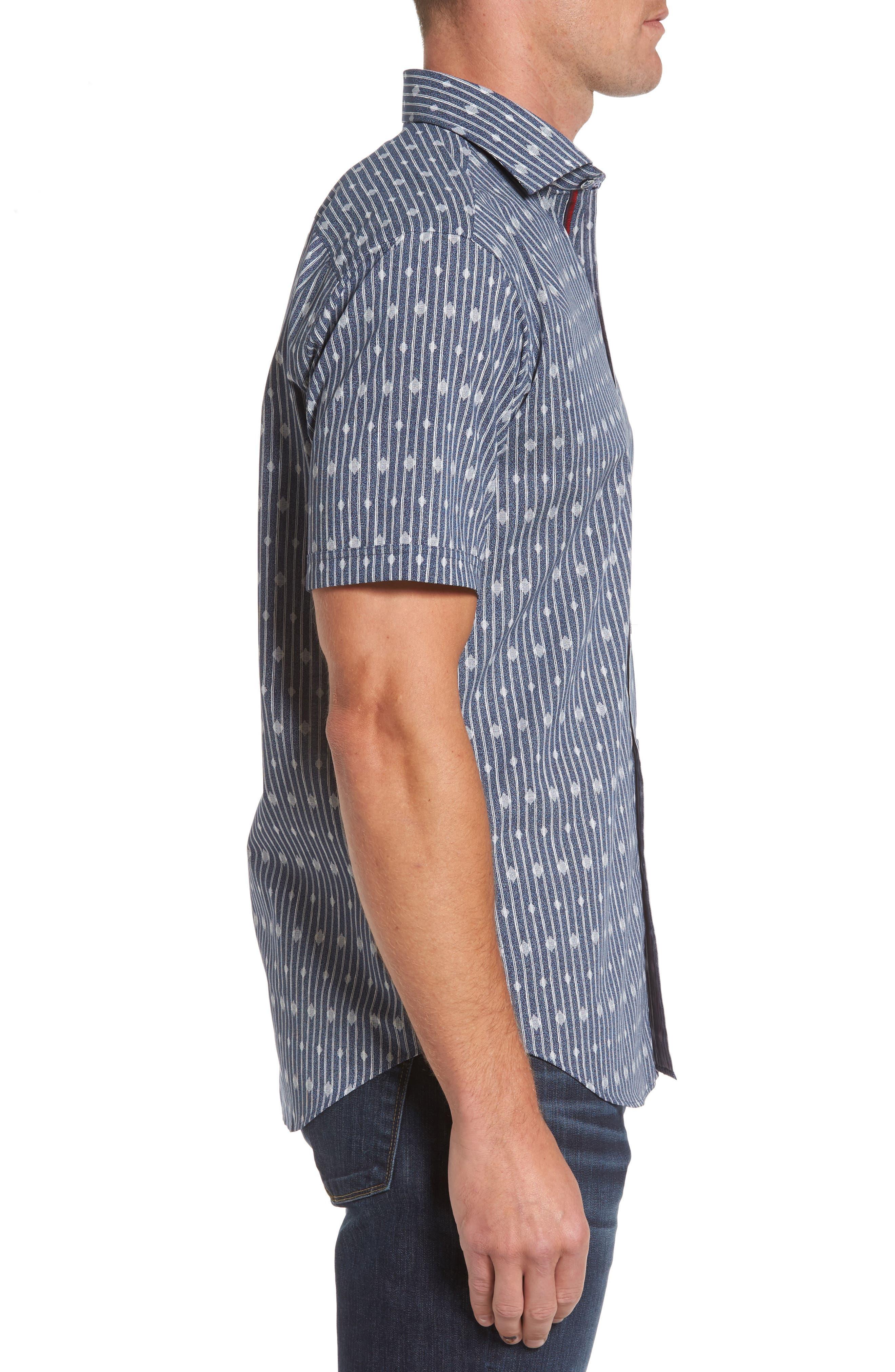 Shaped Fit Diamond Stripe Print Sport Shirt,                             Alternate thumbnail 3, color,                             423