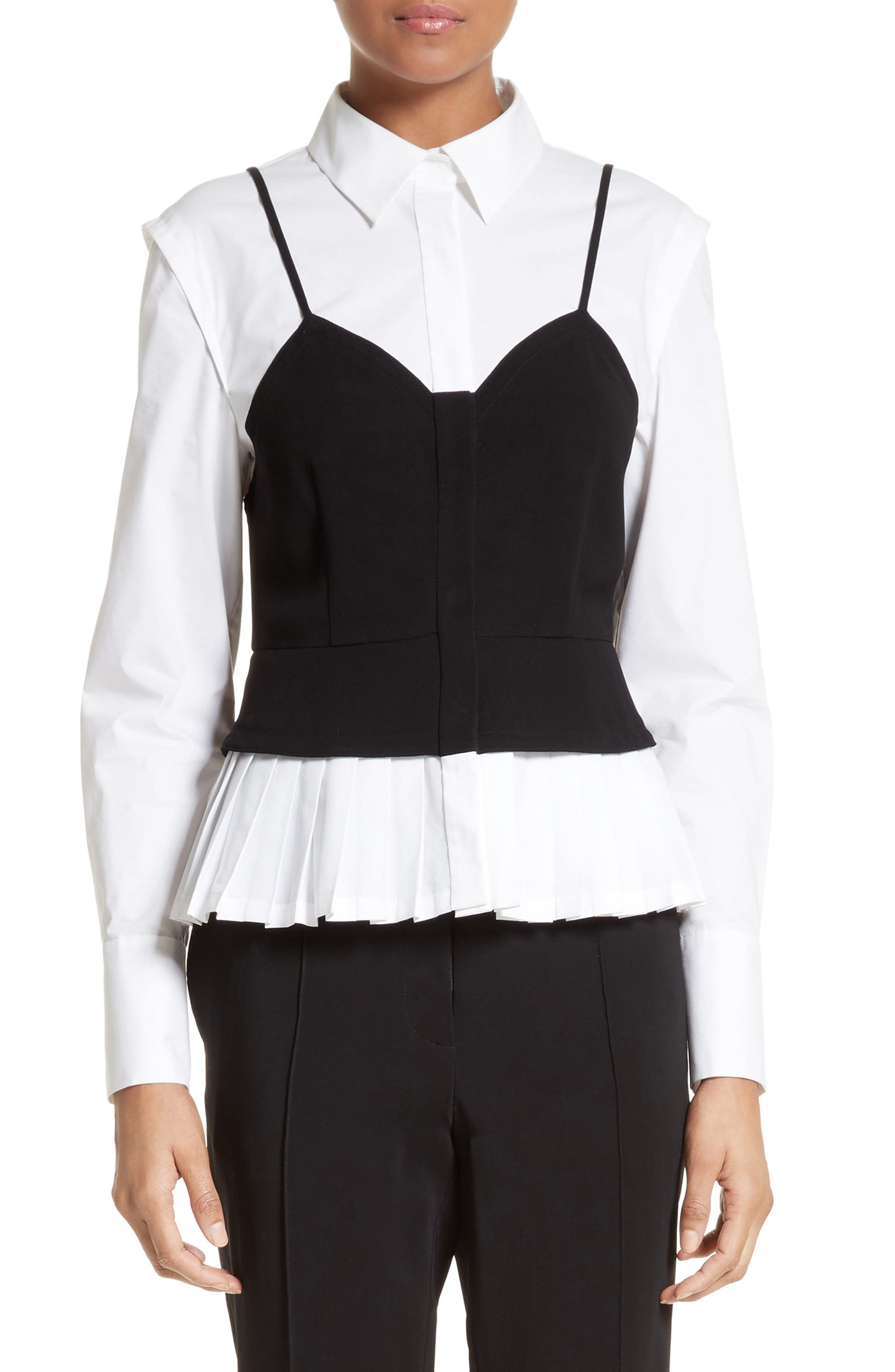 Layered Bustier Blouse,                             Main thumbnail 1, color,                             001