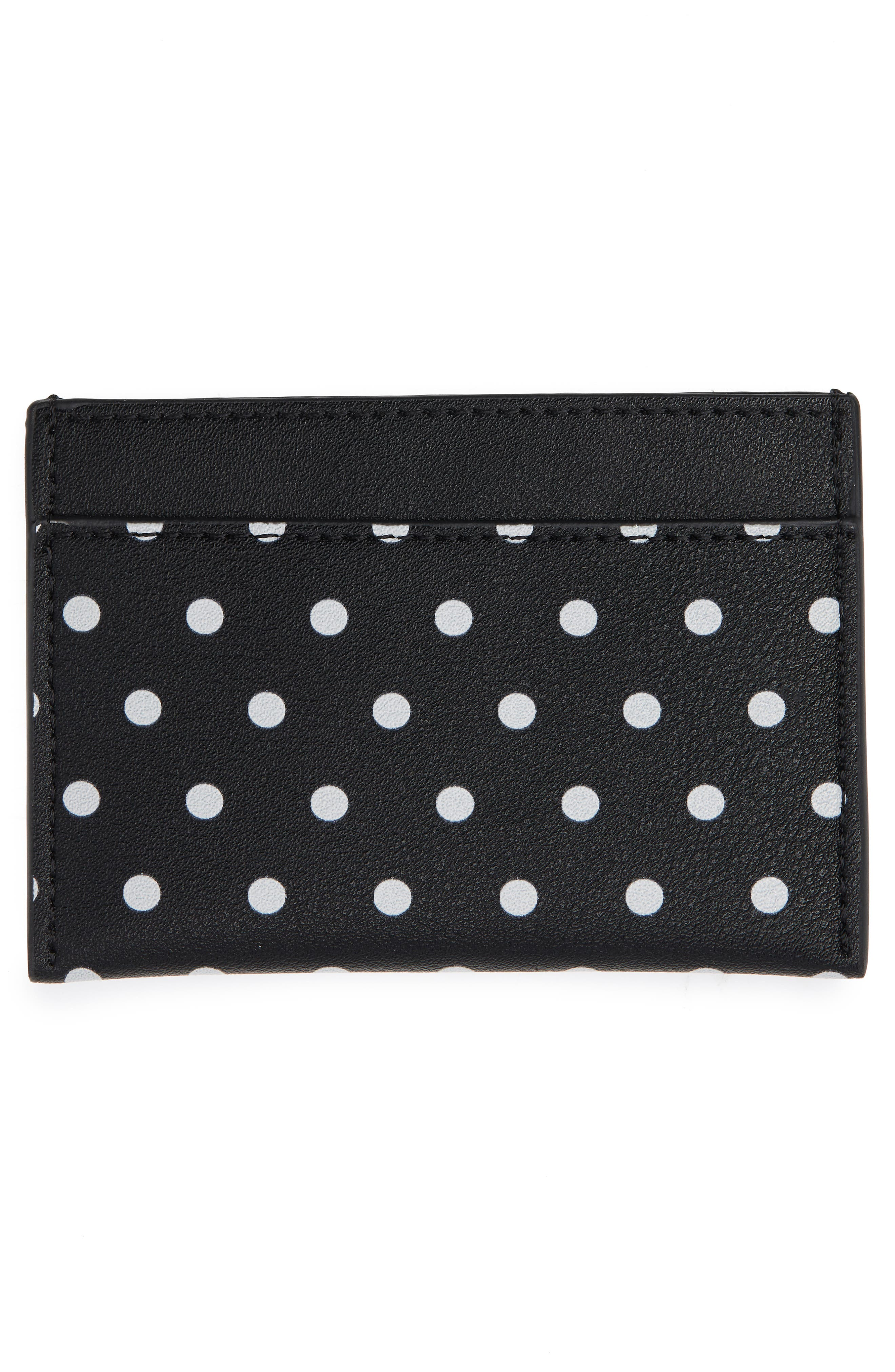 Polka Dot Faux Leather Card Case,                             Alternate thumbnail 2, color,                             100