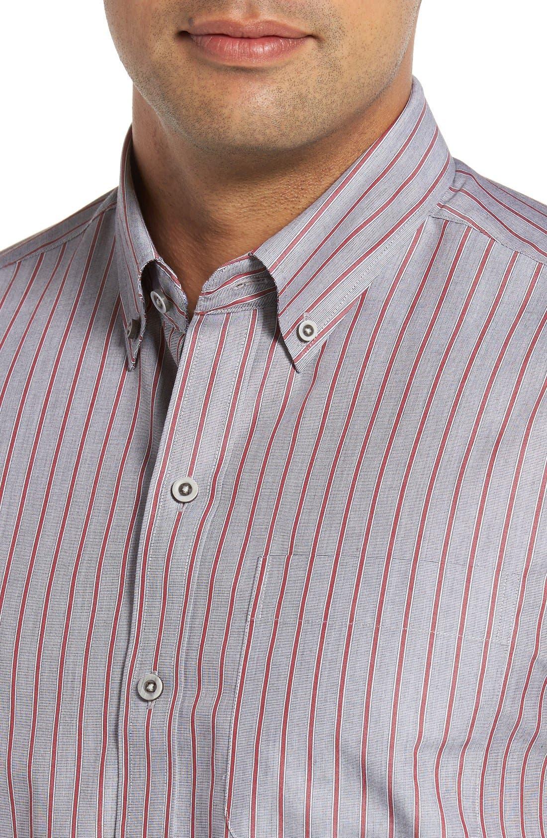 'Peak' Classic Fit Wrinkle Free Stripe Sport Shirt,                             Alternate thumbnail 3, color,                             020