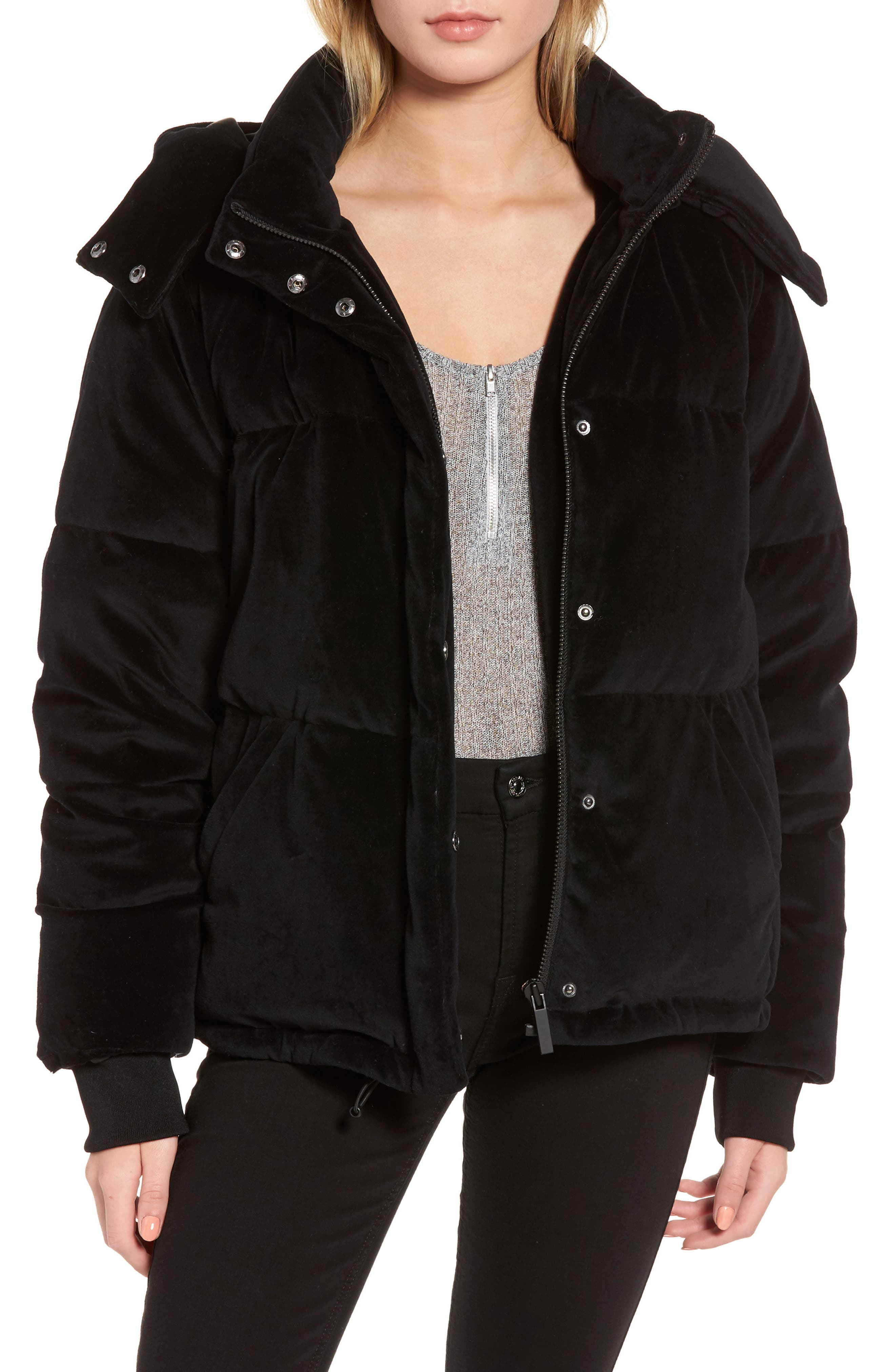 Velour Puffer Jacket,                         Main,                         color, 001