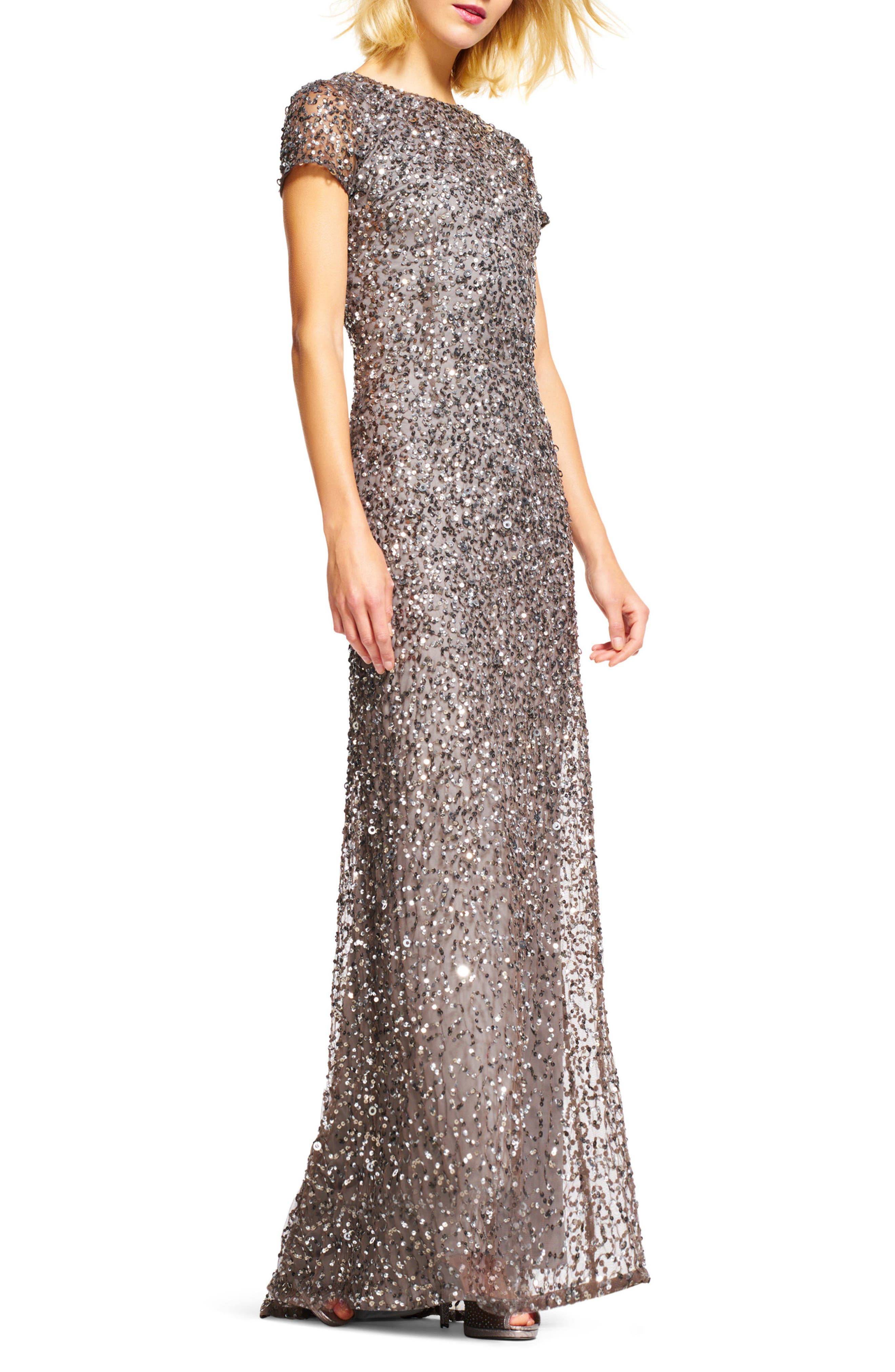 Short Sleeve Sequin Mesh Gown,                             Alternate thumbnail 4, color,                             LEAD