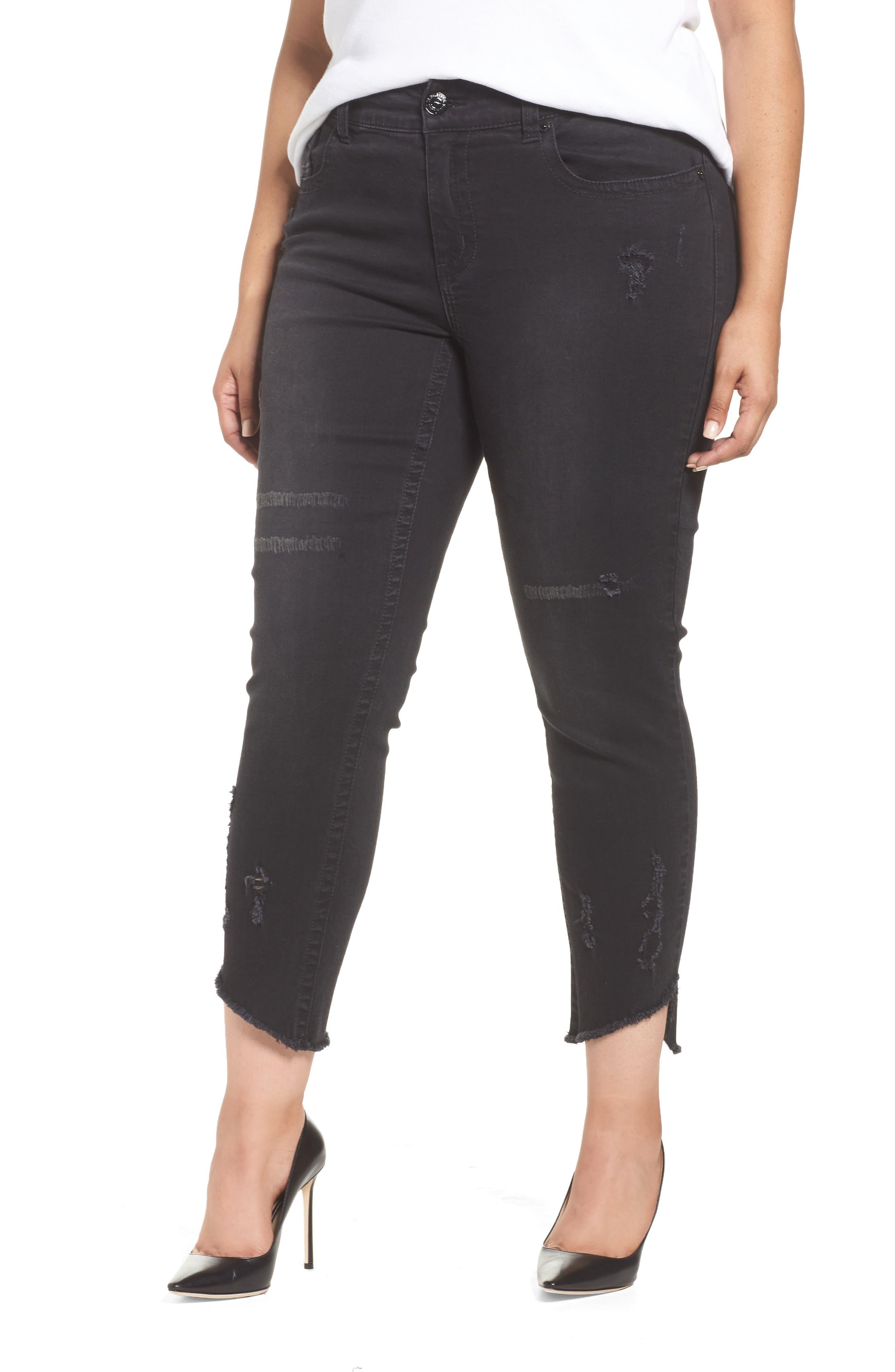 SEVEN7,                             Distressed Slant Raw Hem Skinny Jeans,                             Main thumbnail 1, color,                             001