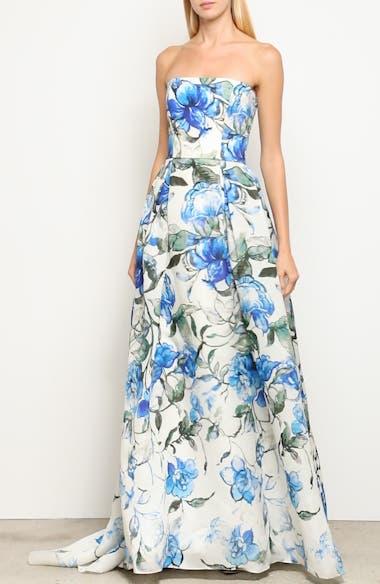 Floral Strapless Silk Evening Dress, video thumbnail