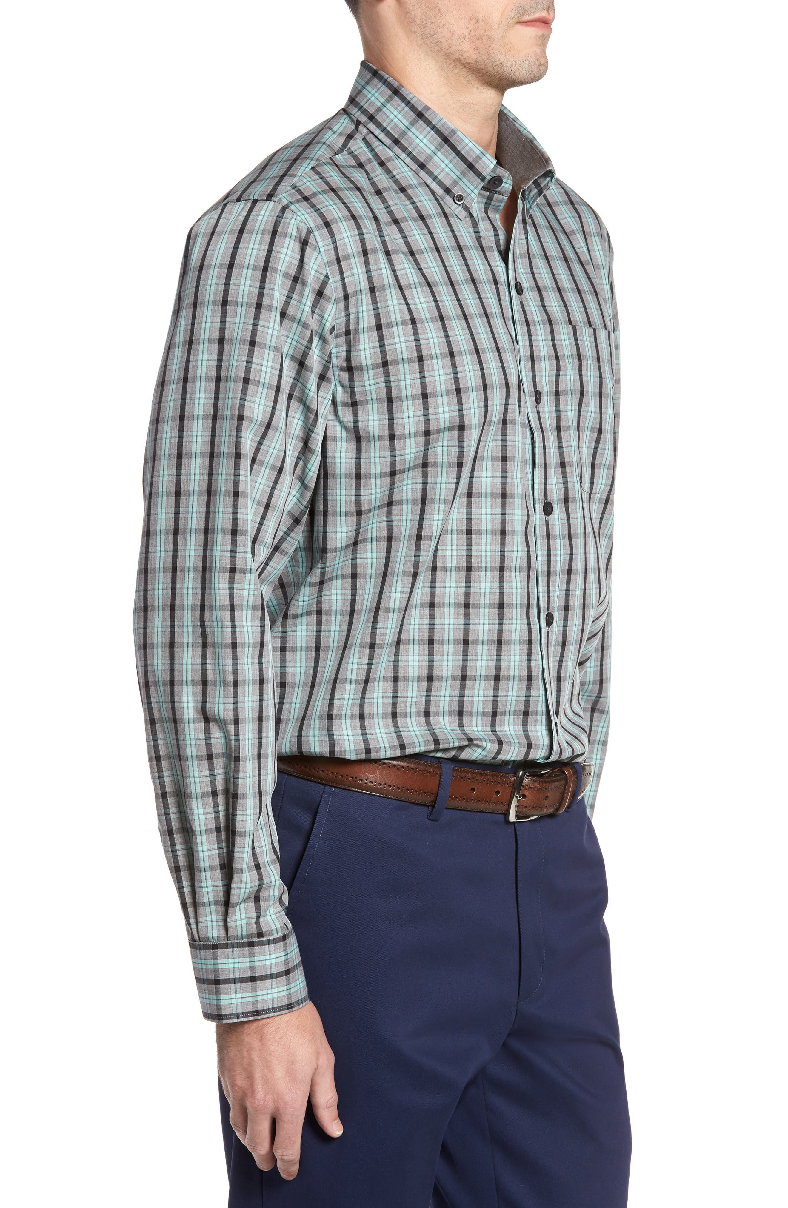 Davis Non-Iron Plaid Sport Shirt,                             Alternate thumbnail 3, color,                             AQUASTONE