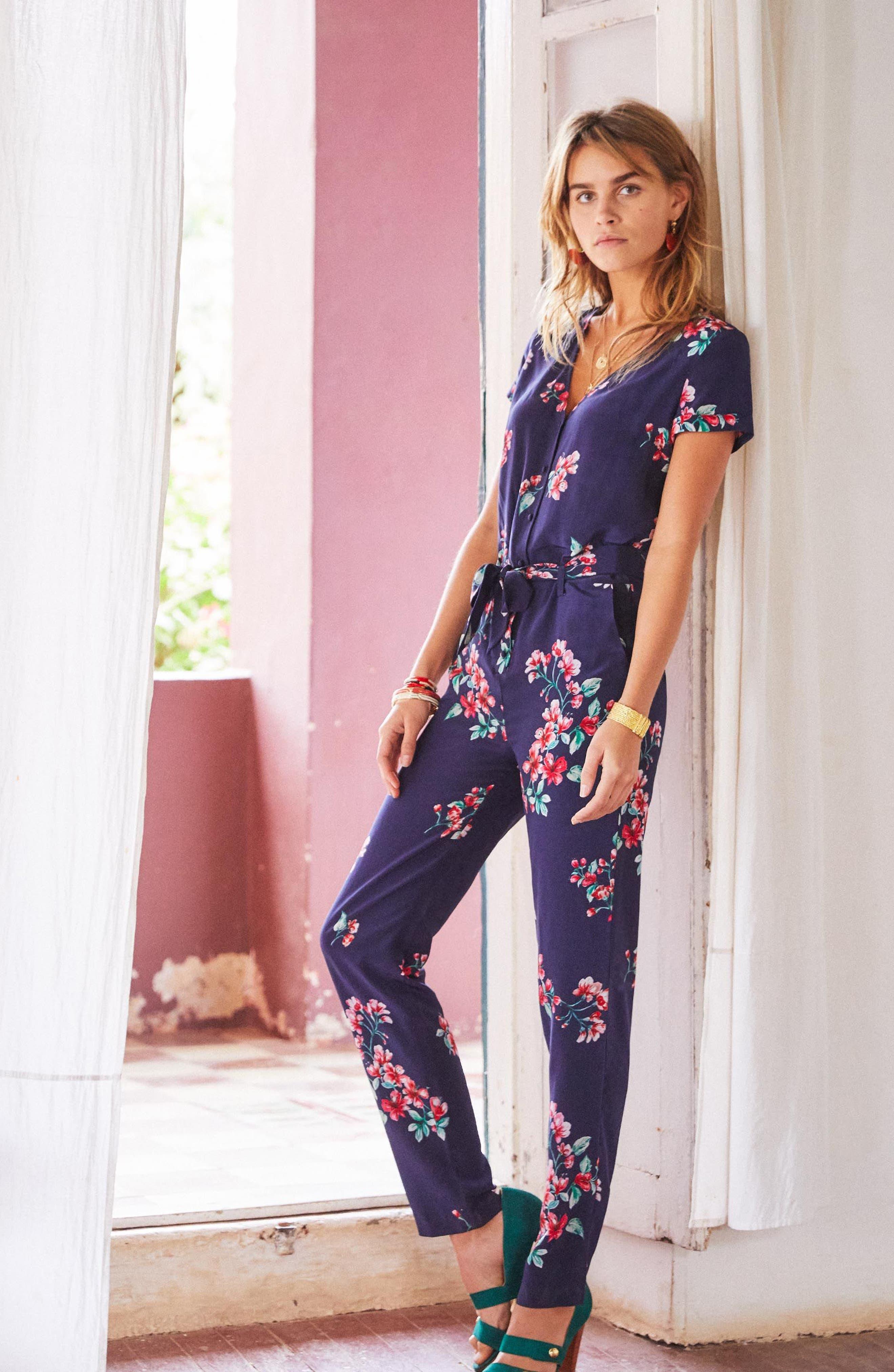 Ava Floral Silk Jumpsuit,                             Alternate thumbnail 8, color,                             400