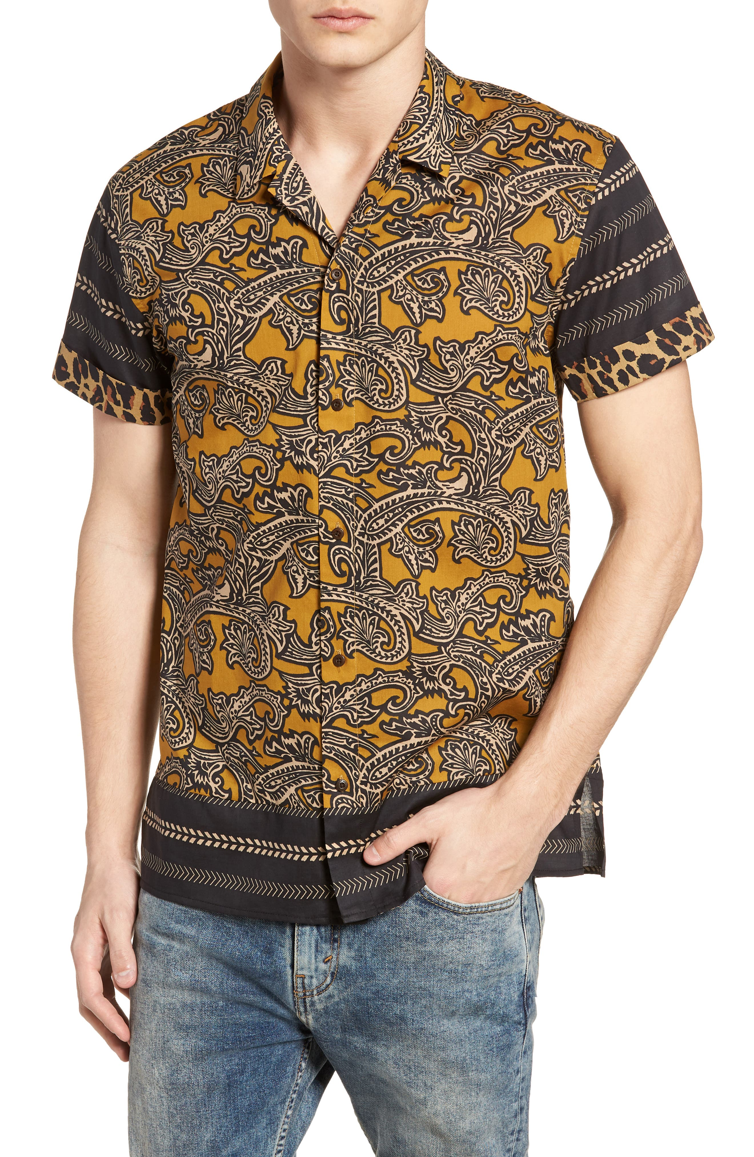 Woven Print Shirt,                         Main,                         color, 800