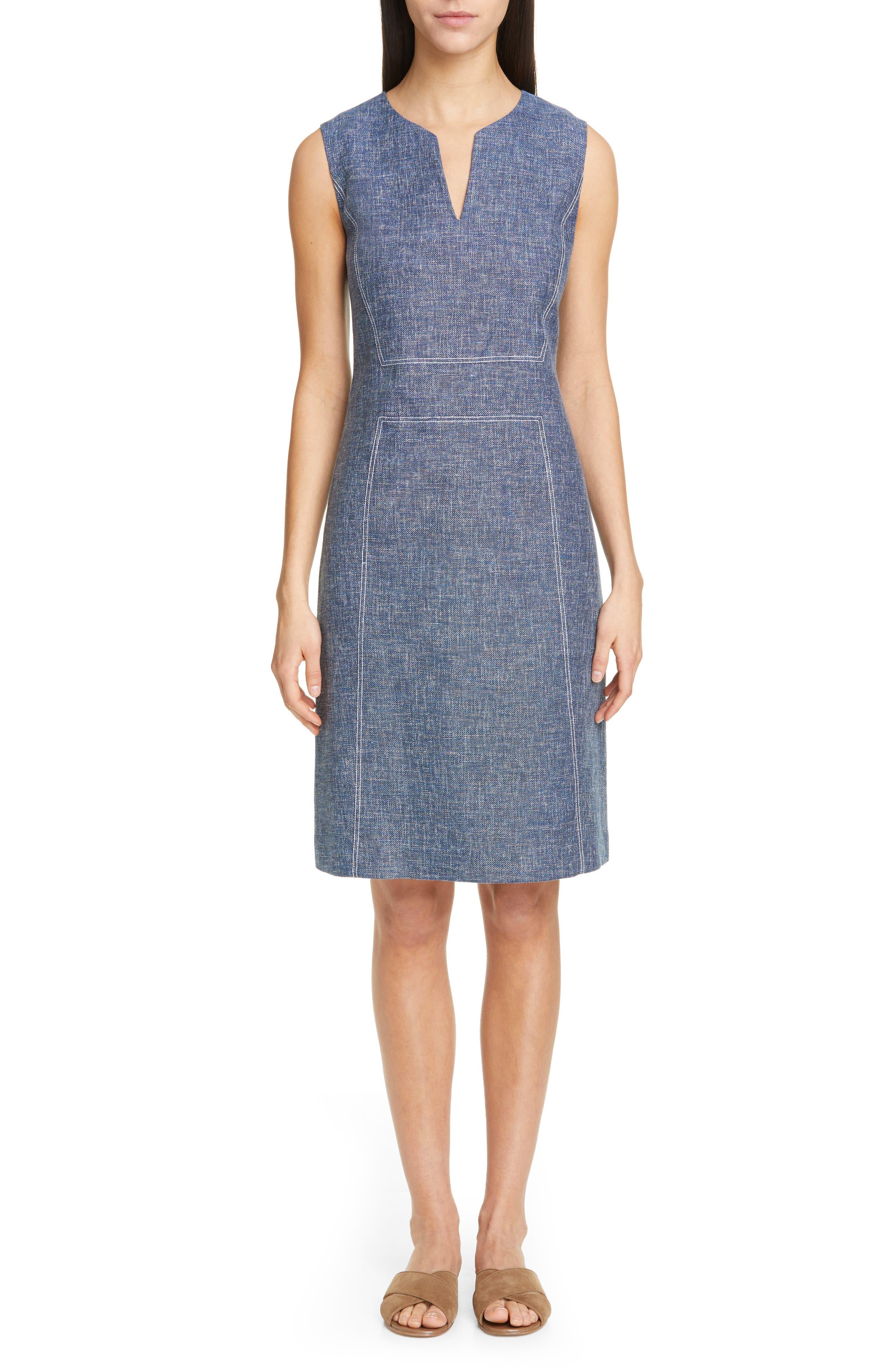 Lafayette 148 New York Brett Contrast Stitch Cotton & Linen Dress, Blue