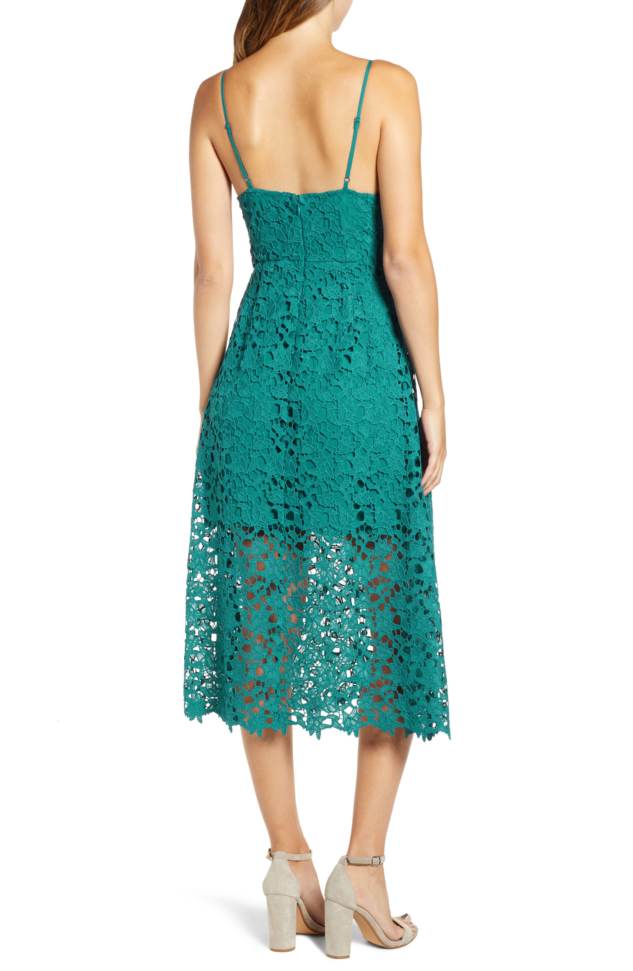 Lace Midi Dress,                             Alternate thumbnail 2, color,                             JADE GREEN
