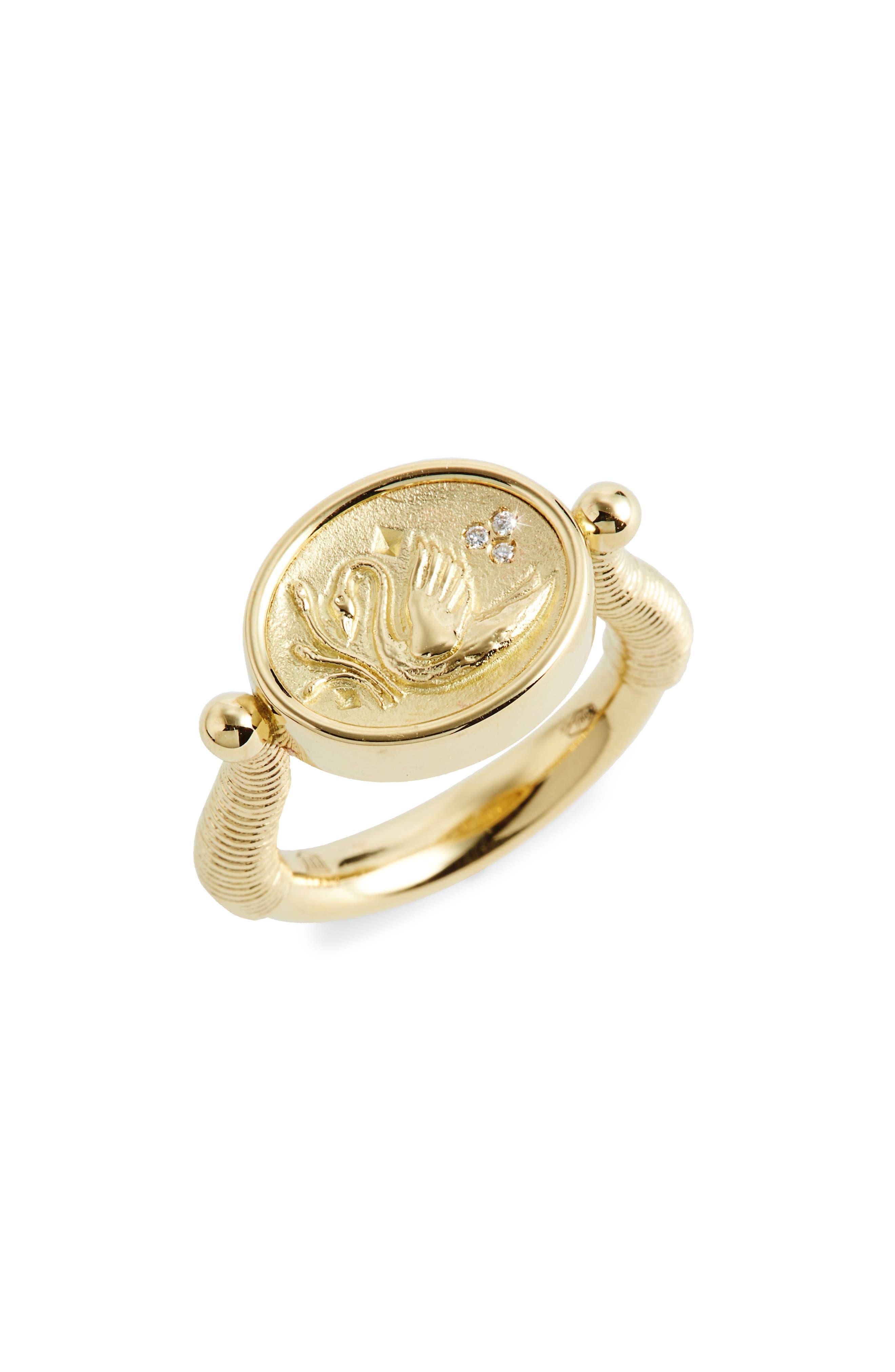 Temple St. Clair Object Trouvé Swan Coin Diamond Ring,                             Main thumbnail 1, color,                             710