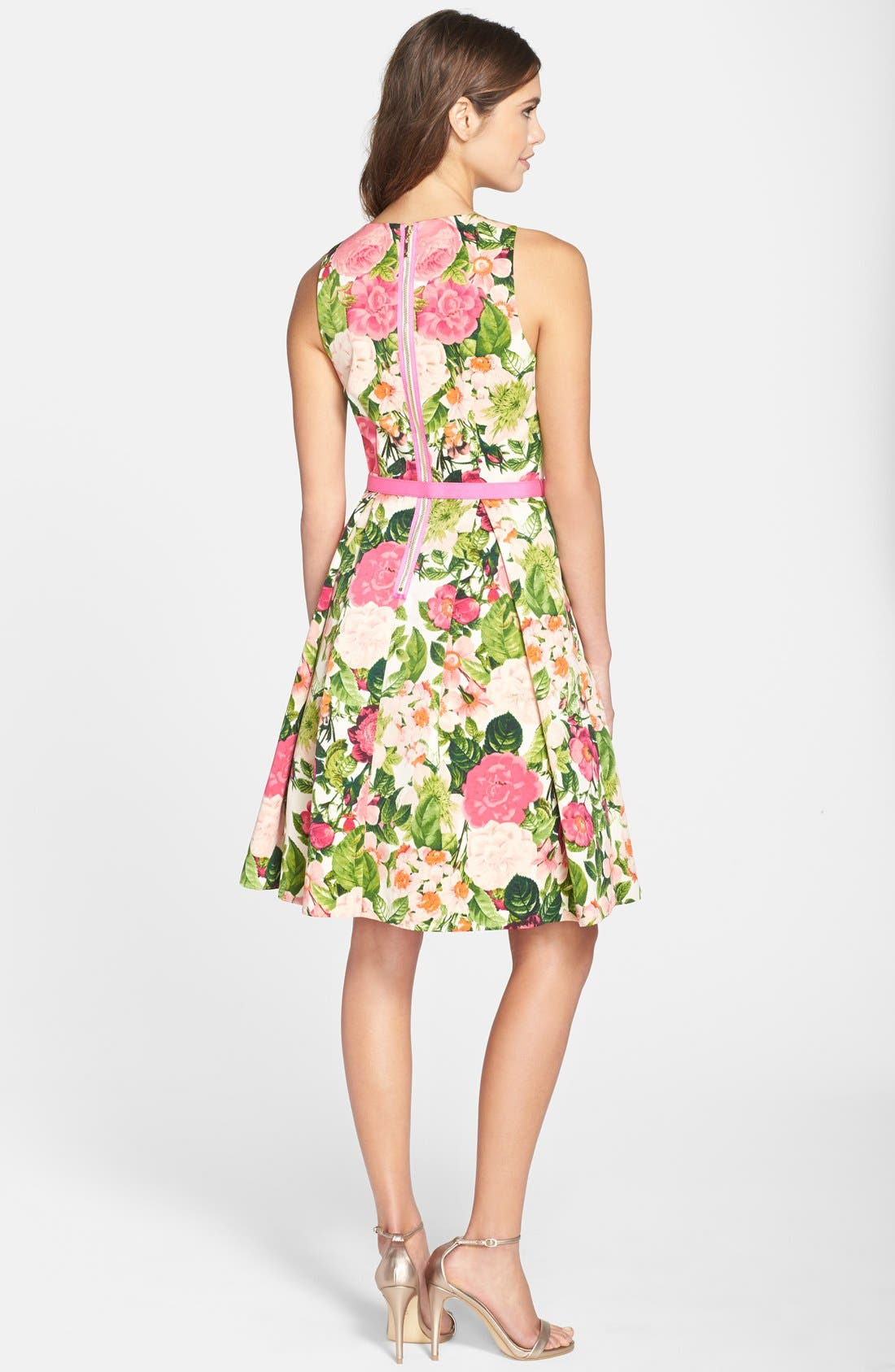 Belted Print Faille Fit & Flare Dress,                             Alternate thumbnail 2, color,                             650