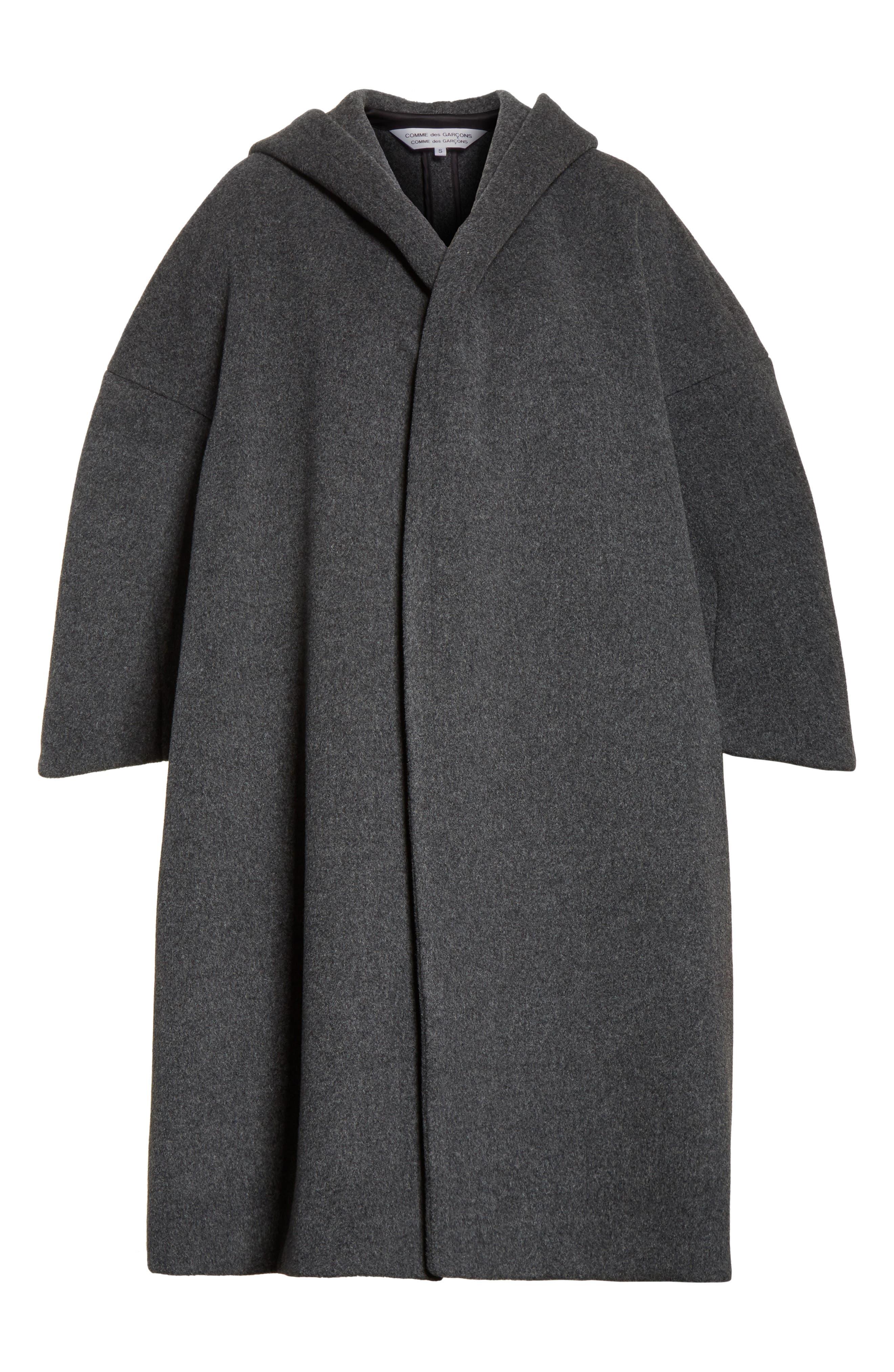 Long Hooded Wool Blend Coat,                             Alternate thumbnail 5, color,                             020
