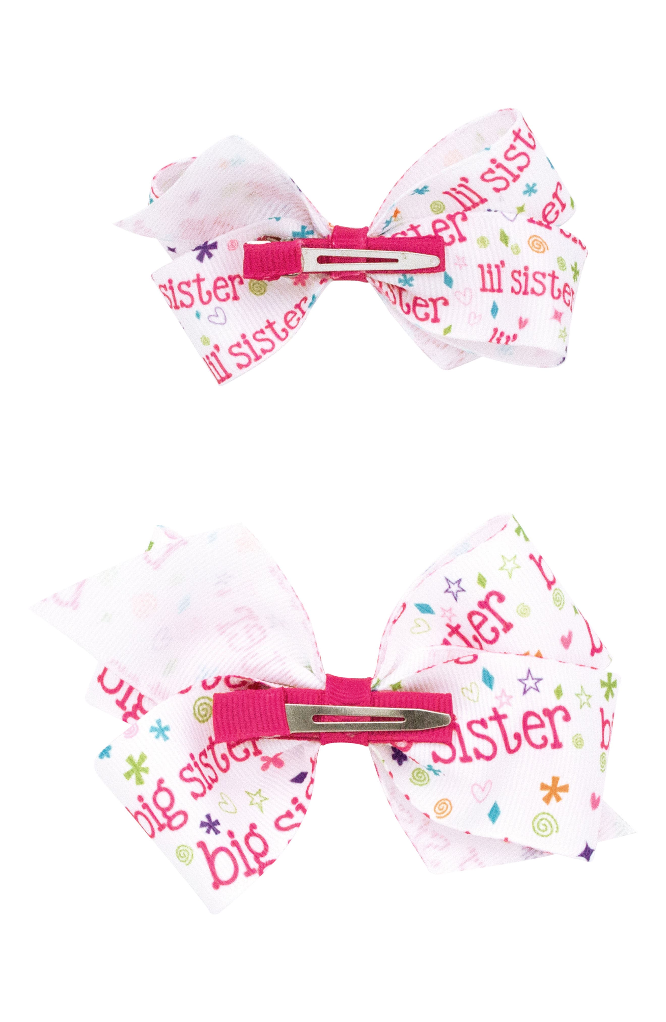 Big and Lil Sister 2-Pack Hair Clips,                             Alternate thumbnail 2, color,                             HOT PINK