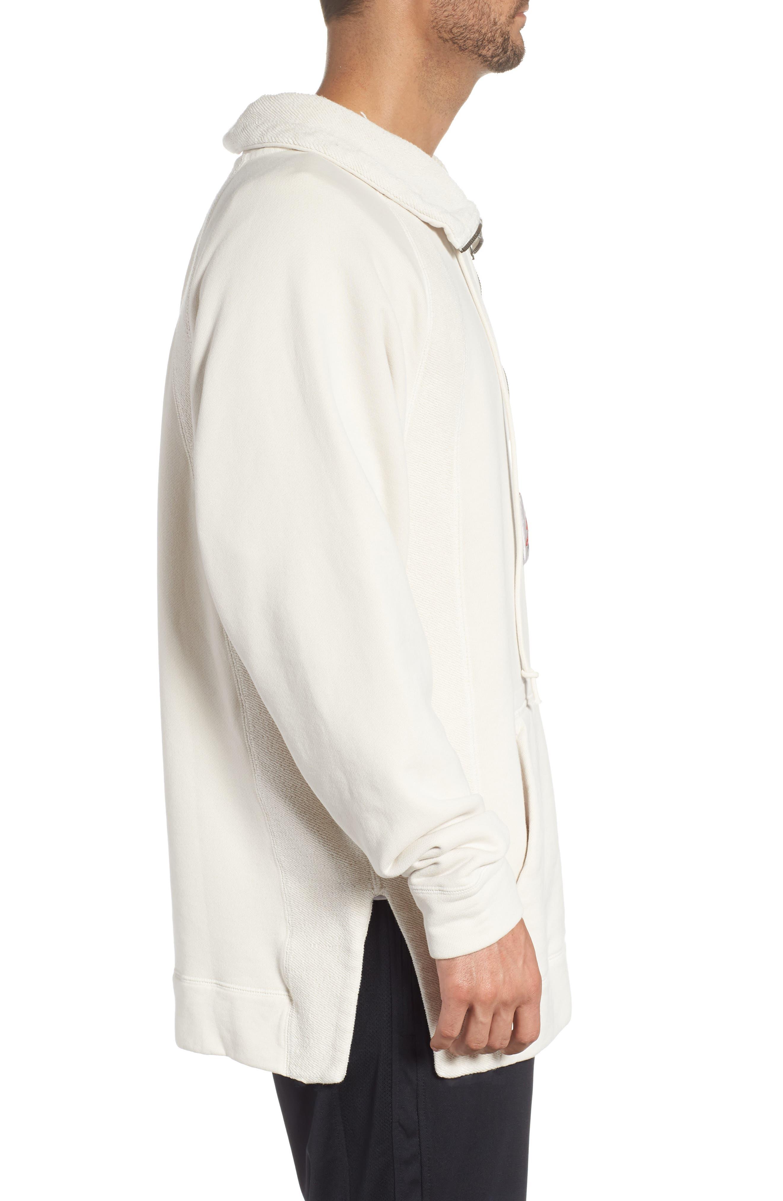 Jordan Wings Washed Quarter Zip Sweatshirt,                             Alternate thumbnail 3, color,                             LIGHT BONE