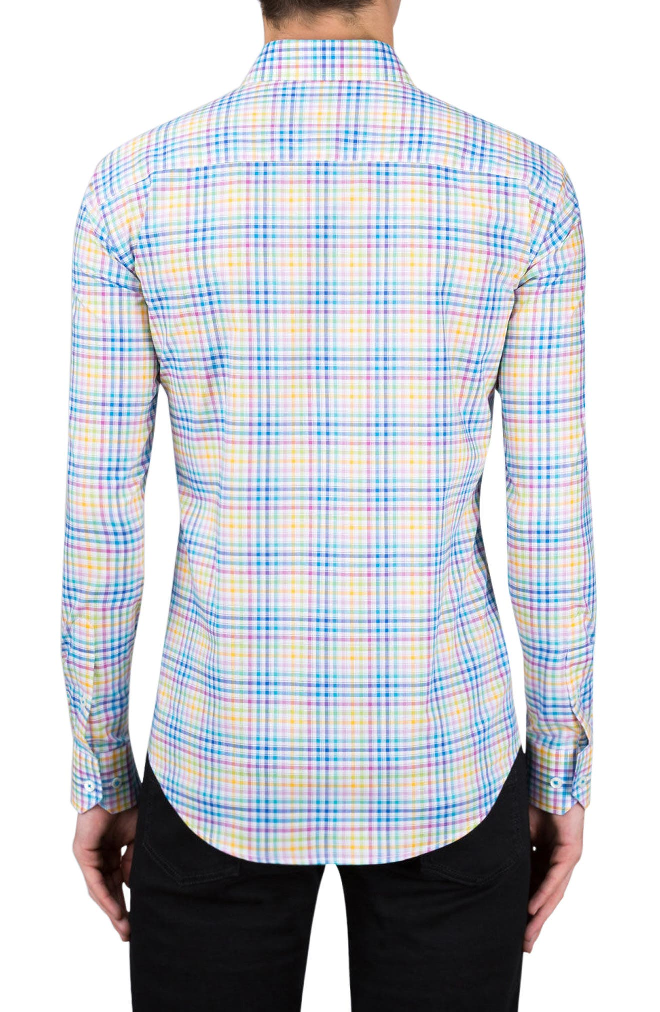 Shaped Fit Check Sport Shirt,                             Alternate thumbnail 2, color,