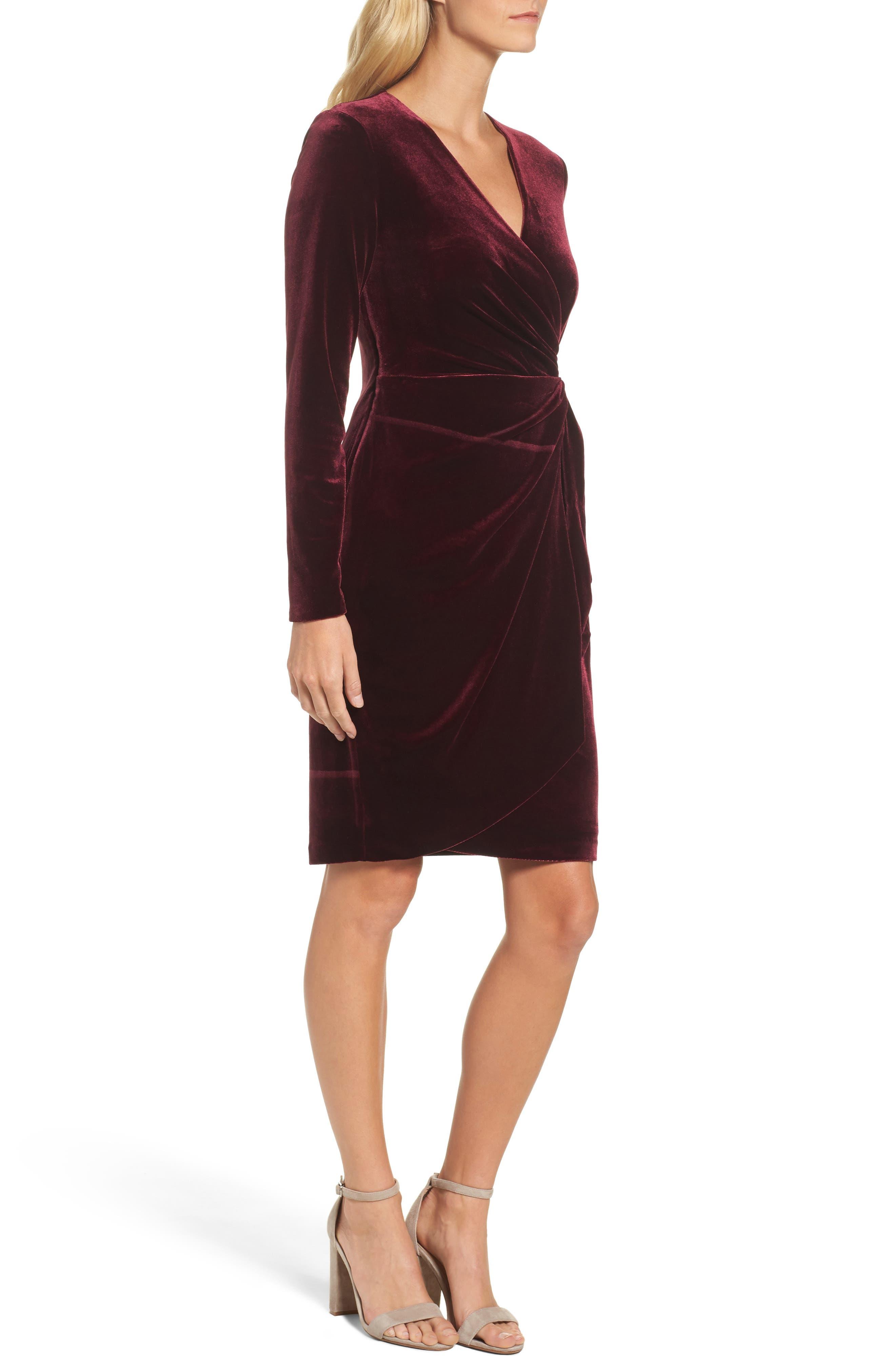 Velvet Faux Wrap Dress,                             Alternate thumbnail 3, color,                             931
