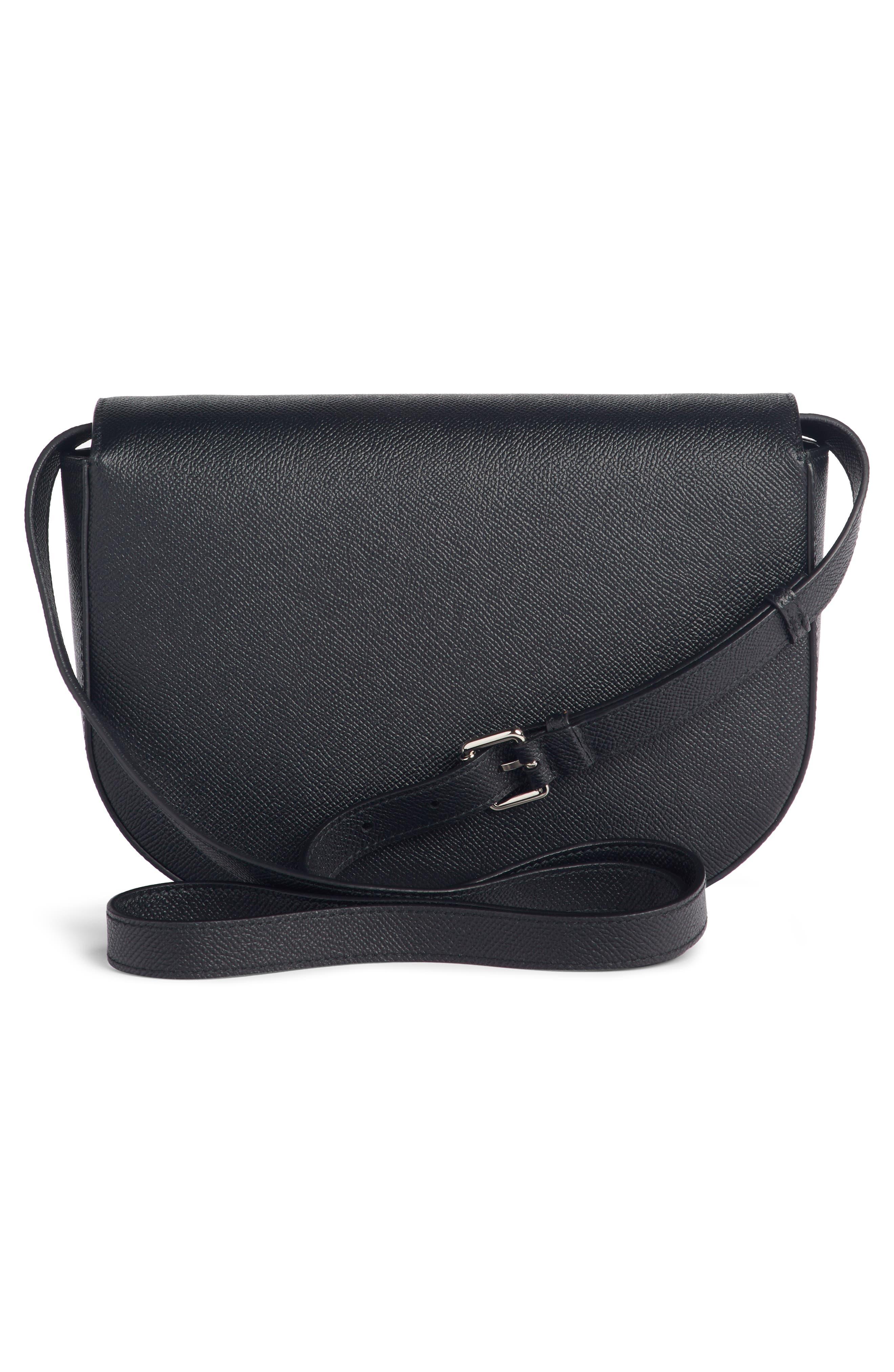 Small Ville Logo Leather Saddle Bag,                             Alternate thumbnail 3, color,                             NOIR/ BLANC