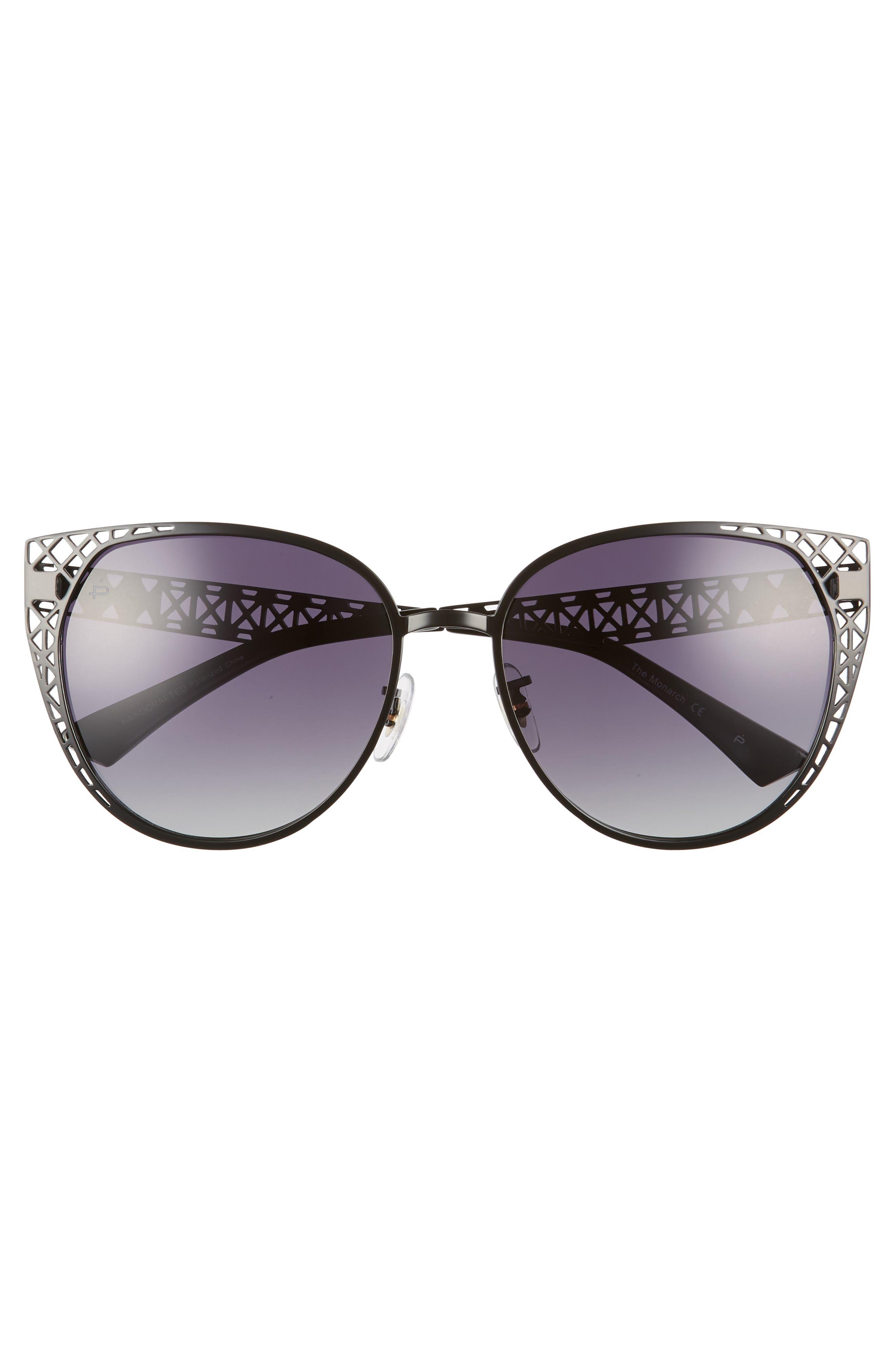 The Monarch 57mm Cat Eye Sunglasses,                             Alternate thumbnail 3, color,                             001