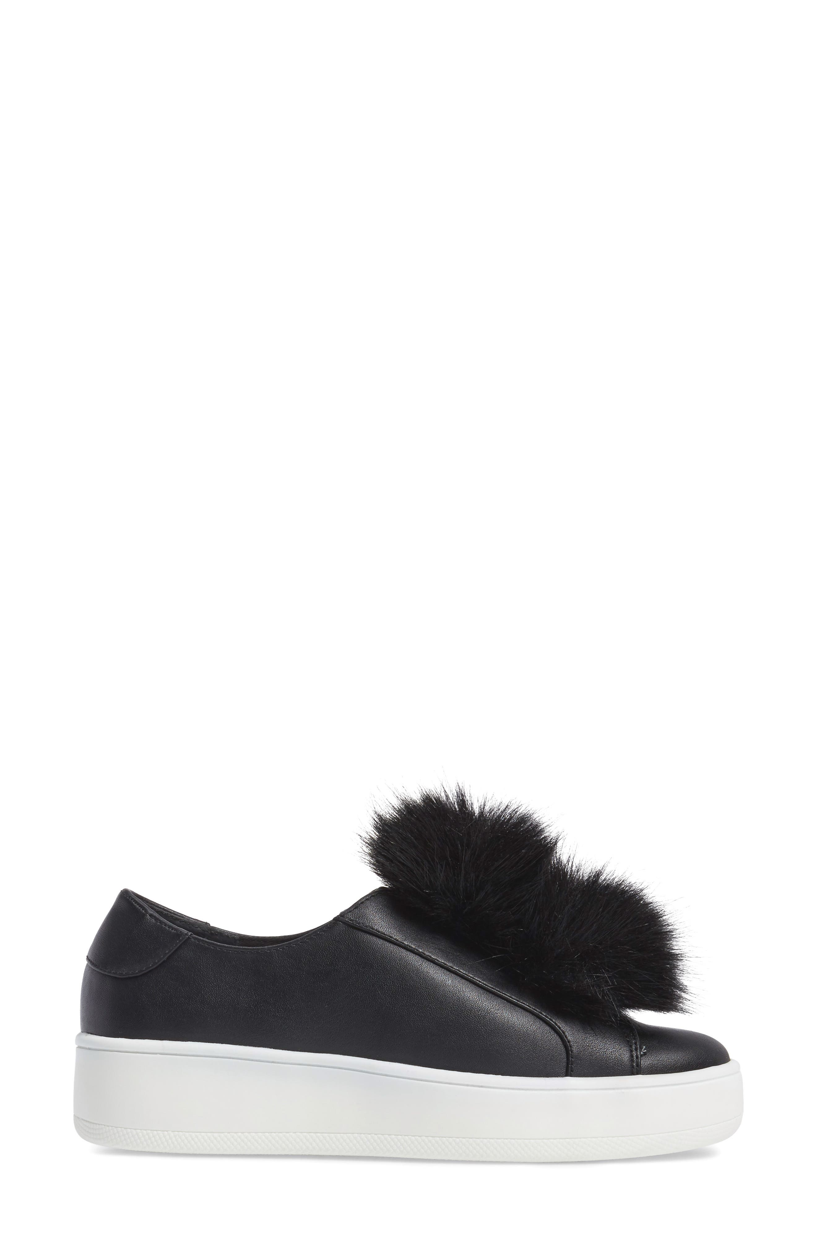Breeze Faux Fur Pom Sneaker,                             Alternate thumbnail 3, color,                             001