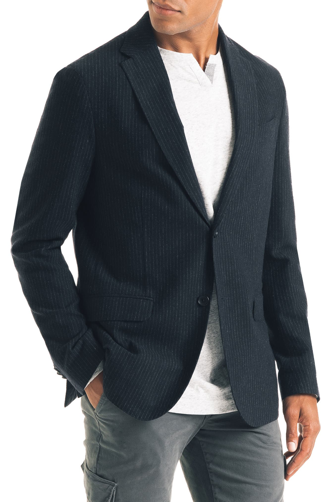 Uptown Trim Fit Stripe Wool Blend Sport Coat,                             Alternate thumbnail 3, color,                             NAVY