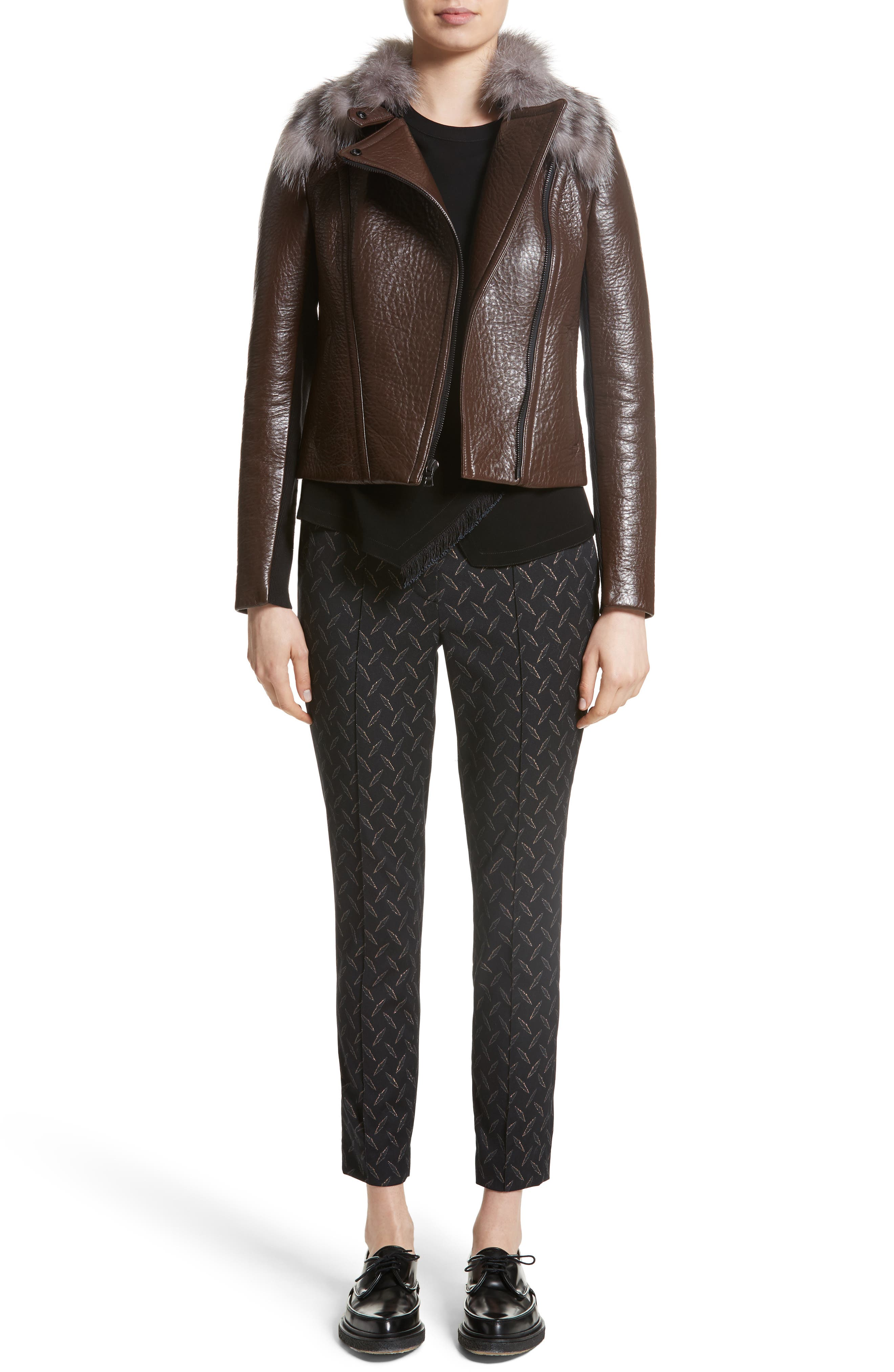 Bonded Moto Leather Jacket with Removable Genuine Fox Fur Collar,                             Alternate thumbnail 7, color,                             219