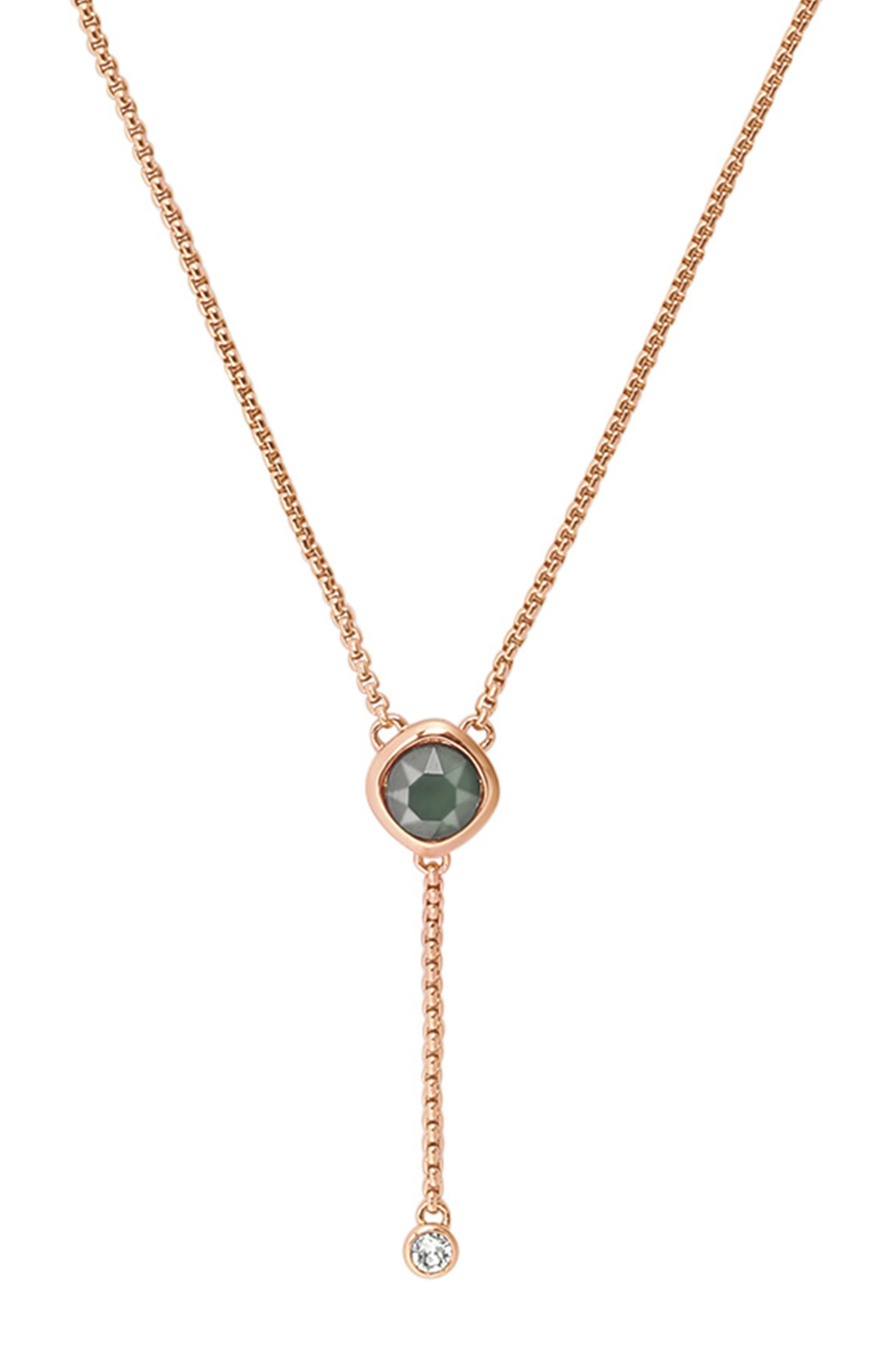 ADORE Soft Square Y-Necklace in Rose Gold Plated