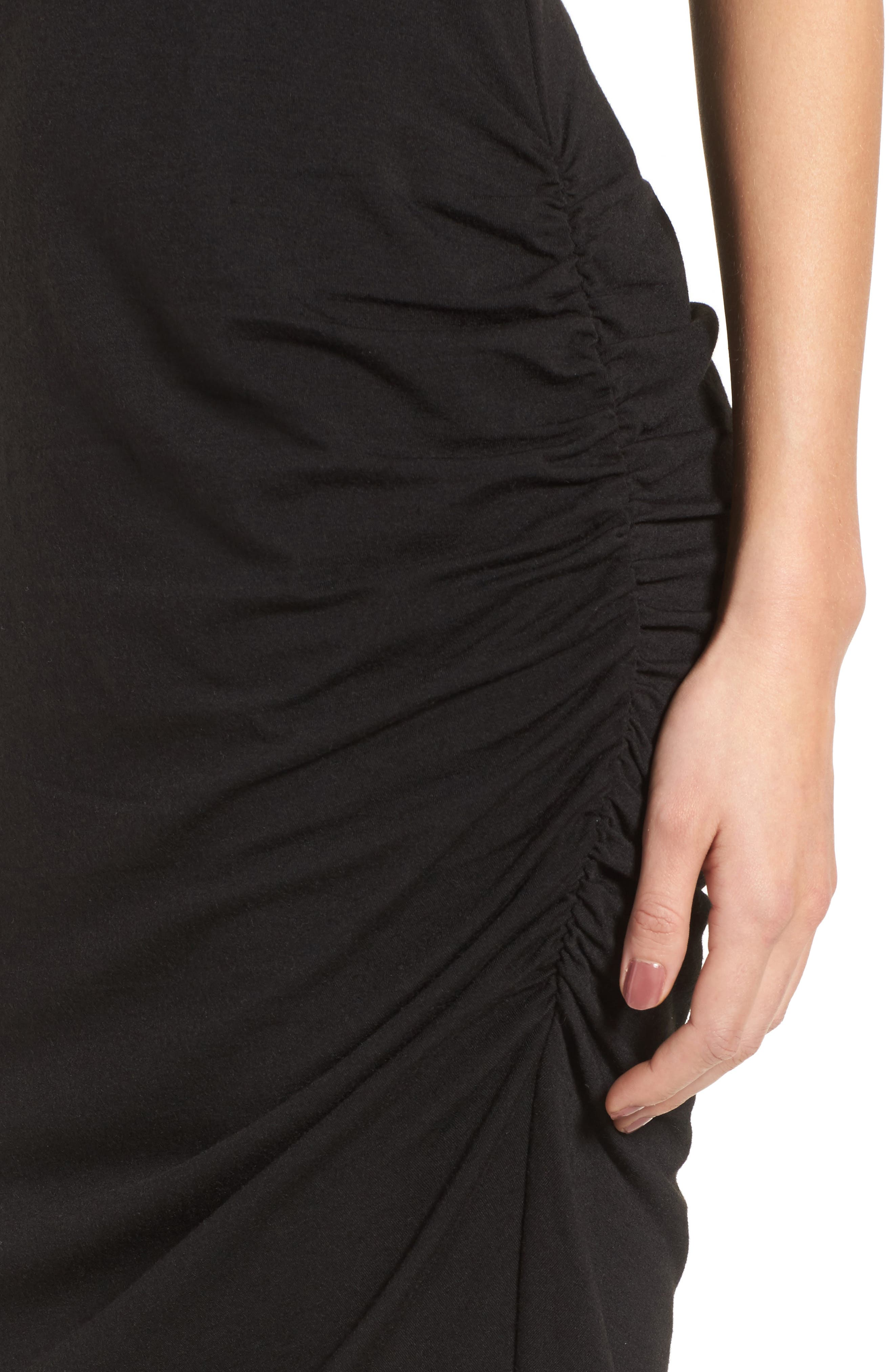 Side Ruched Body-Con Dress,                             Alternate thumbnail 4, color,                             BLACK