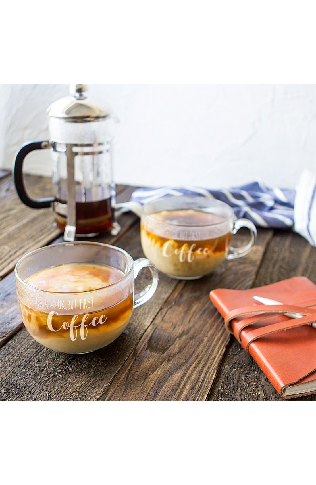 But First Coffee Set of 2 Glass Mugs,                         Main,                         color, 100