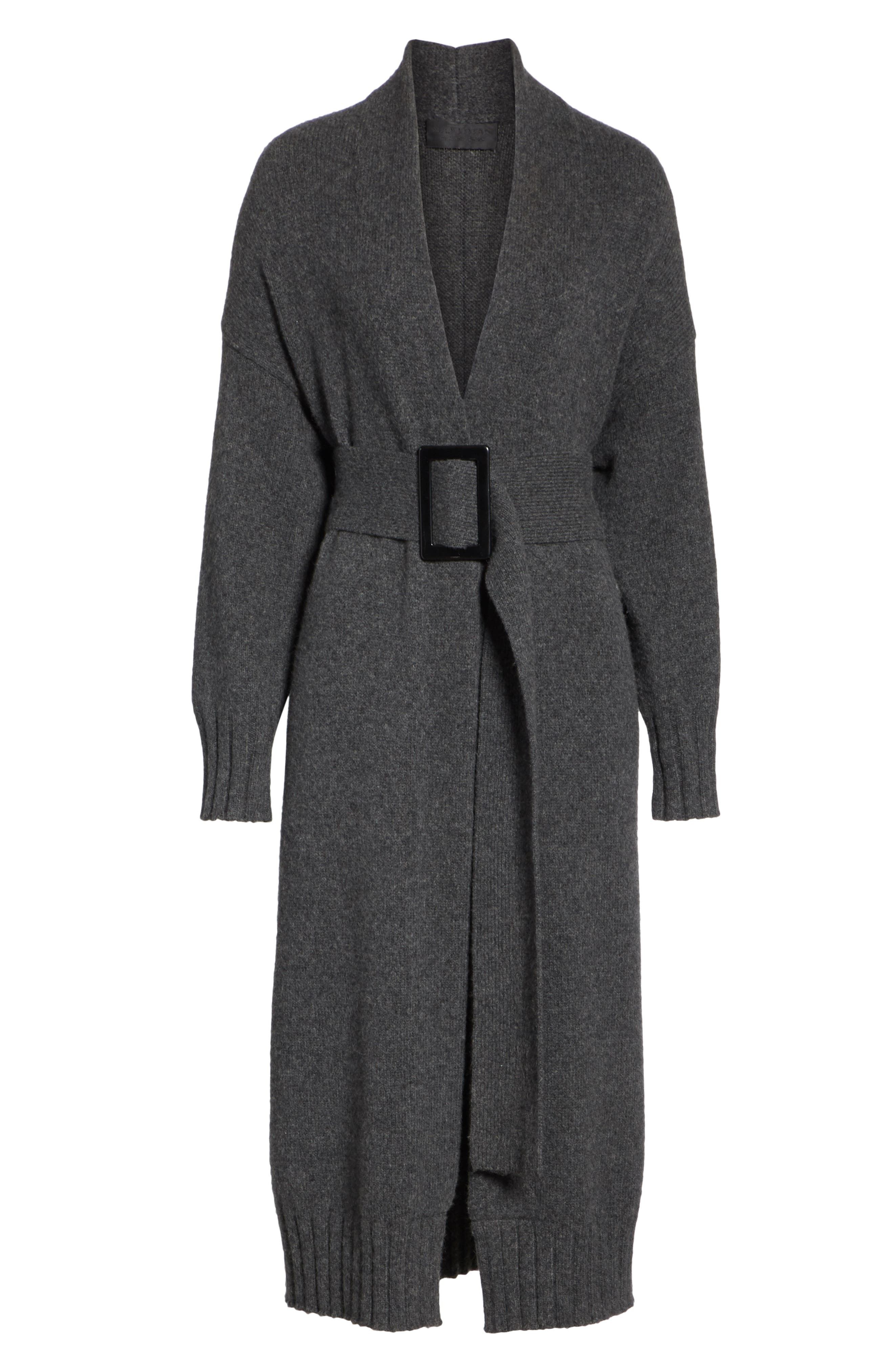 Allana Belted Merino Wool & Camel Hair Blend Cardigan,                             Alternate thumbnail 6, color,                             CHARCOAL