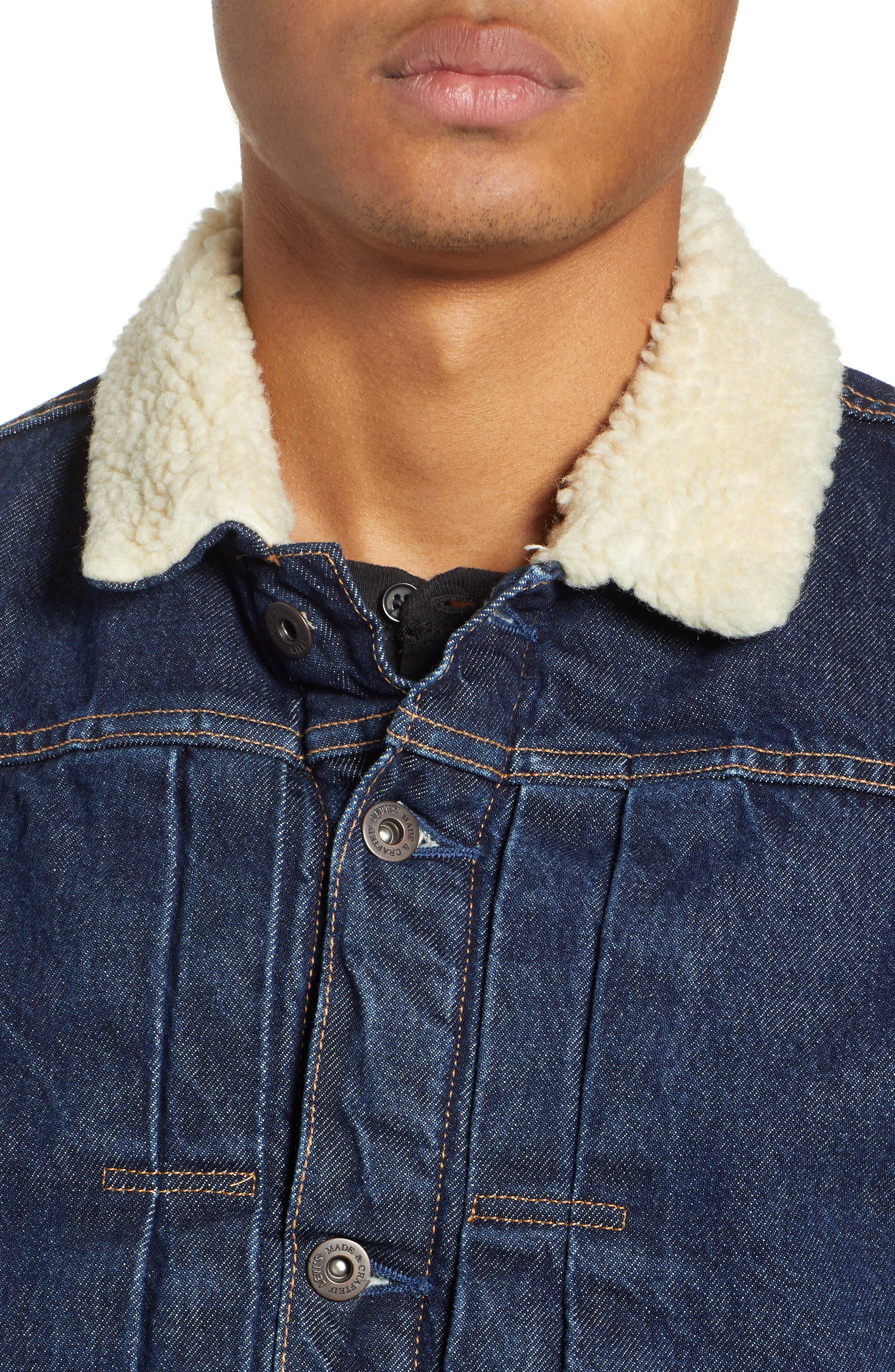 Levi's Made & Crafted<sup>™</sup> Faux Shearling Lined Denim Jacket,                             Alternate thumbnail 4, color,                             CANYON