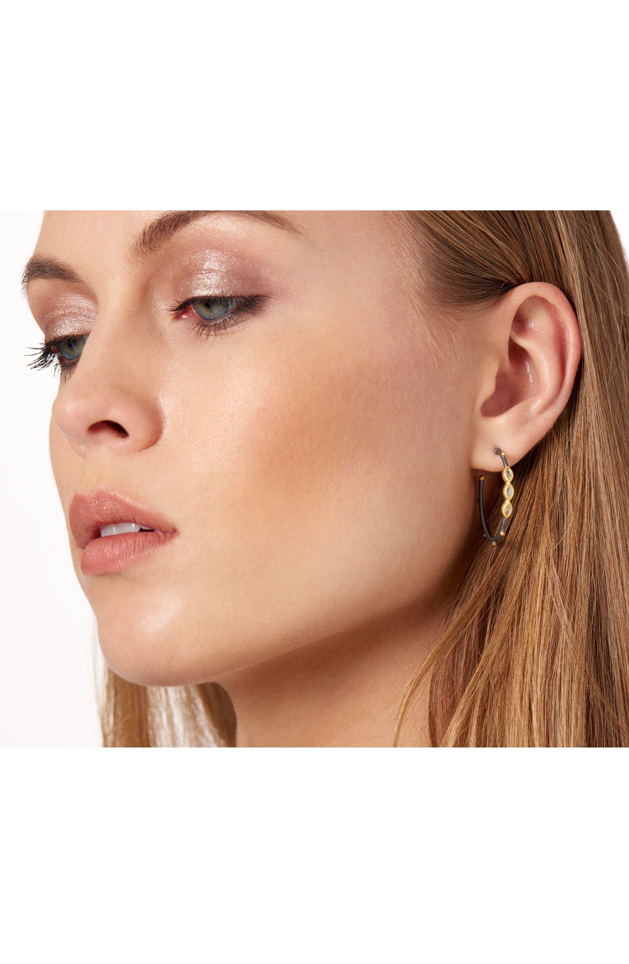 Marquise Station Hoop Earrings,                             Alternate thumbnail 2, color,                             710