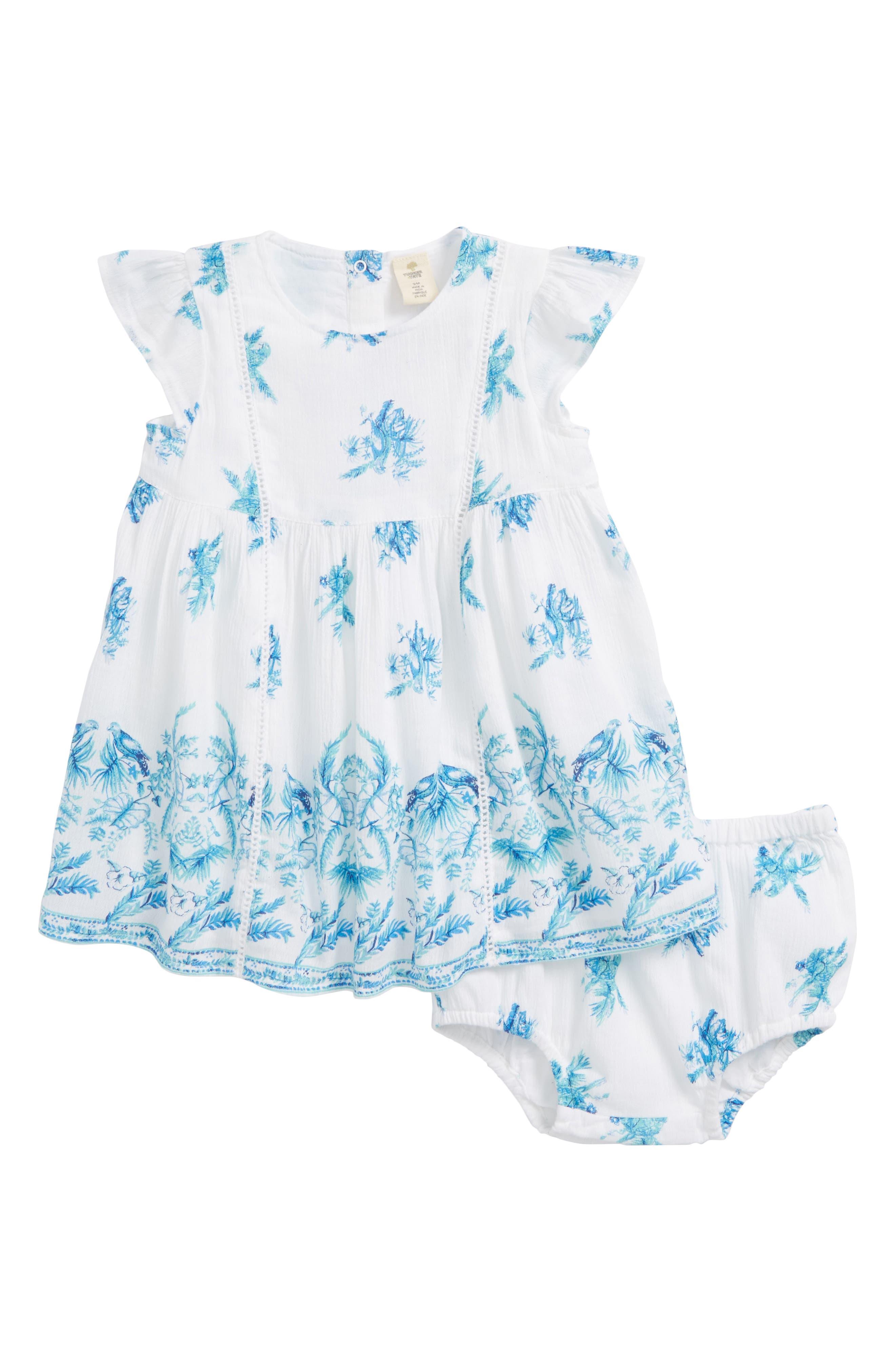 Bird Print Woven Dress,                         Main,                         color, 100