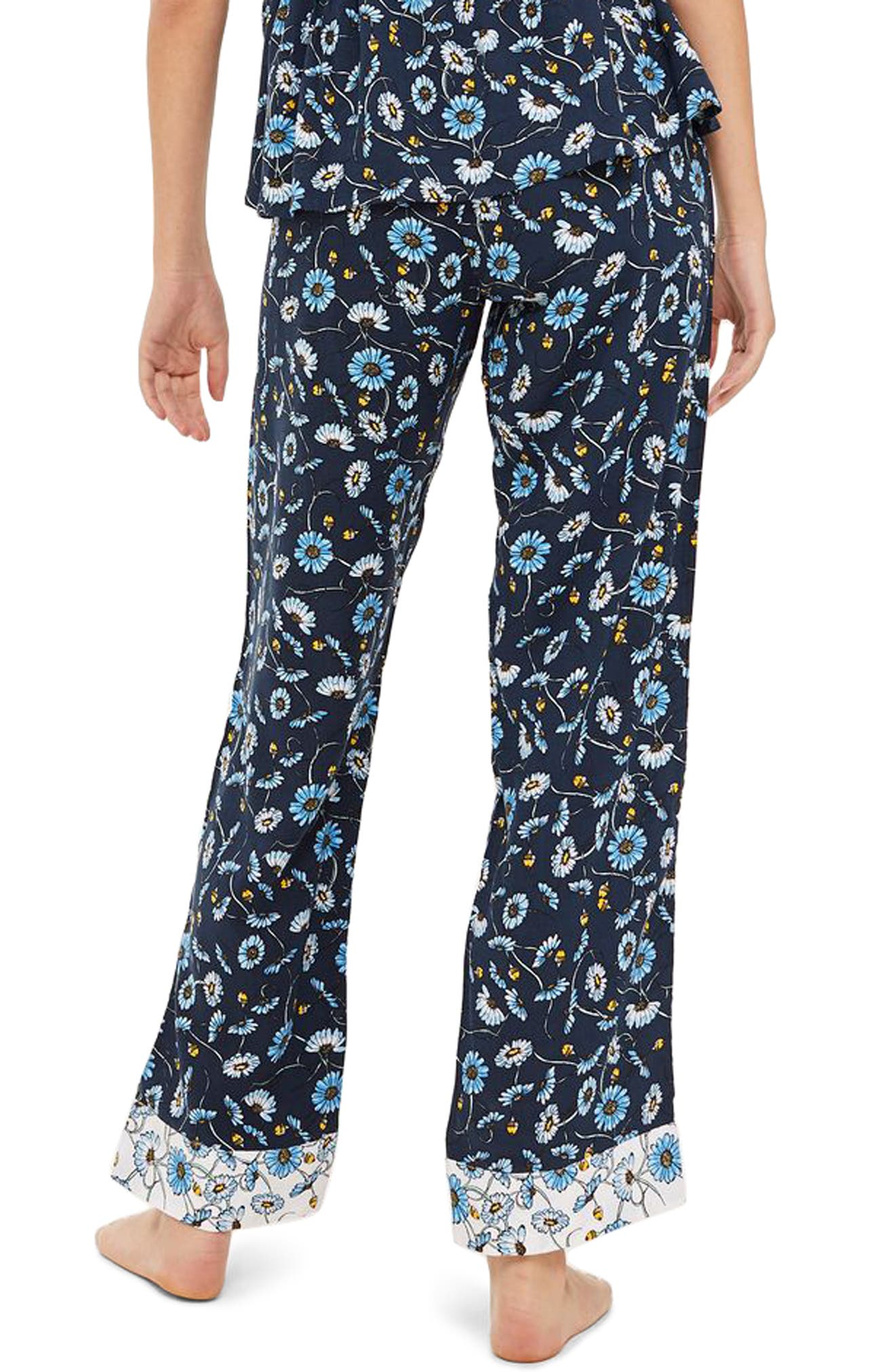 Floral Sleep Trouser Pajama Pants,                             Alternate thumbnail 2, color,                             NAVY MULTI