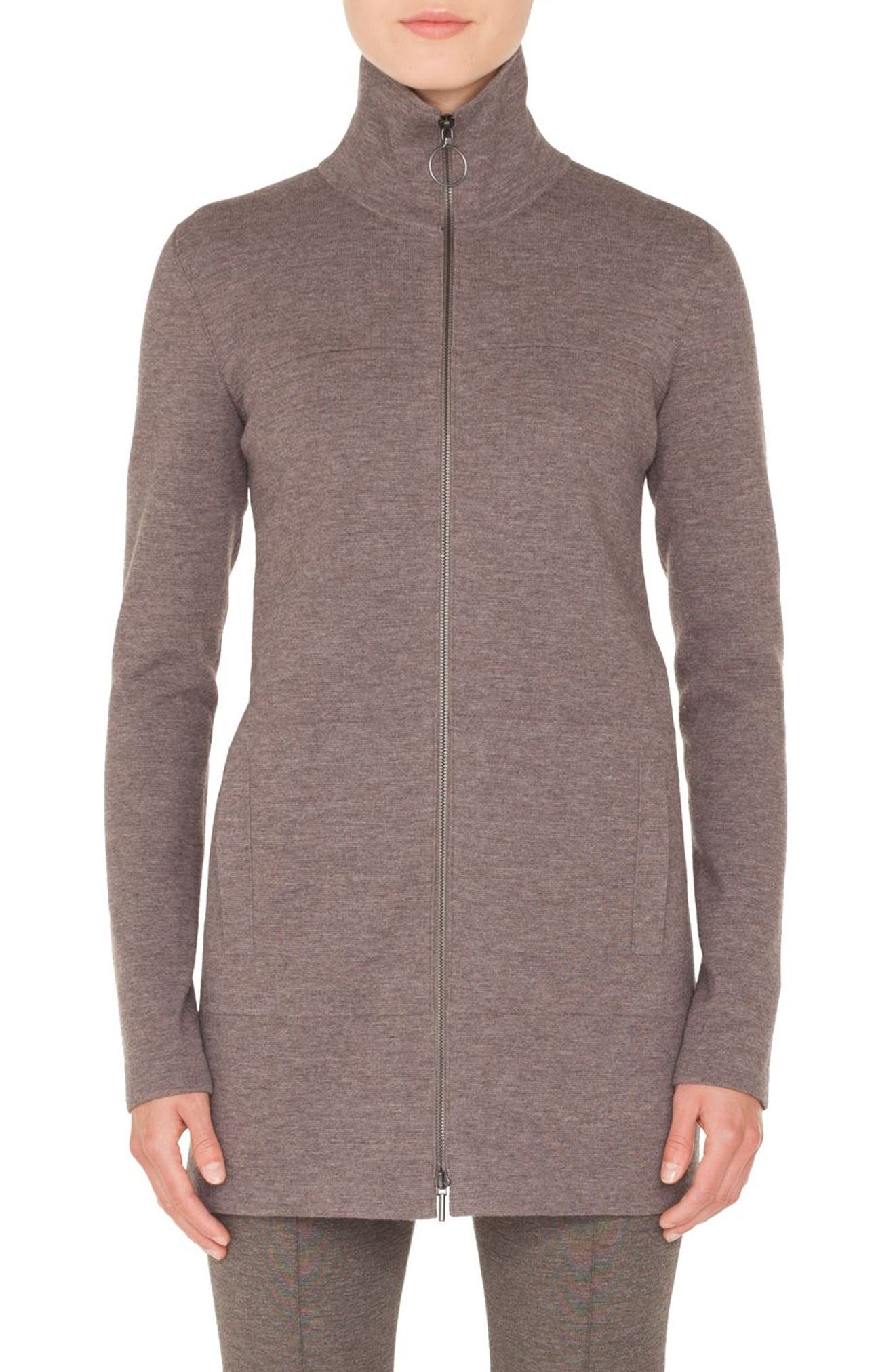 Turtleneck Zip-Front Melange Knit Long Cardigan in Taupe