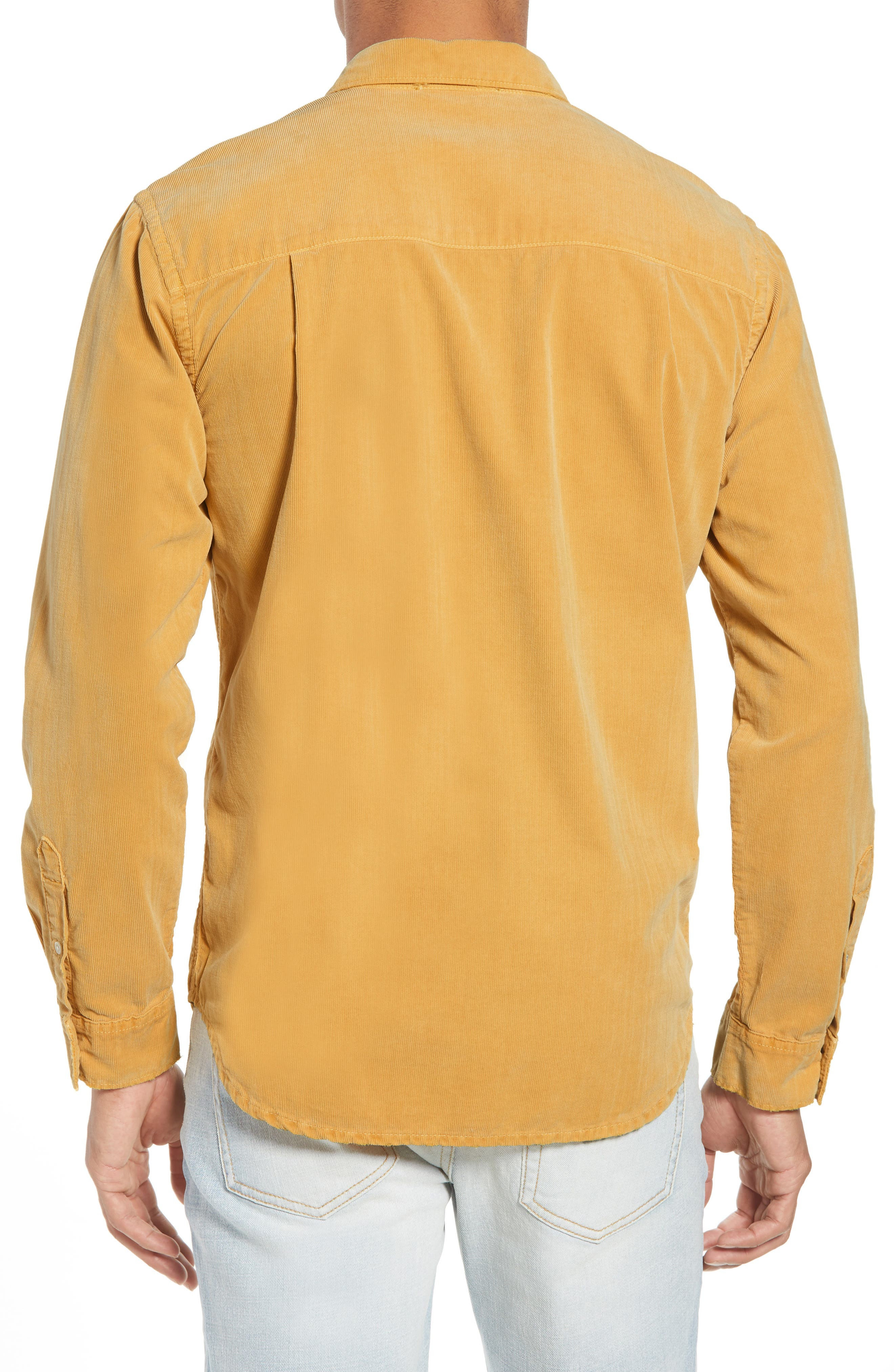 Slim Fit Corduroy Shirt,                             Alternate thumbnail 3, color,                             FADED GOLDEN GLOW