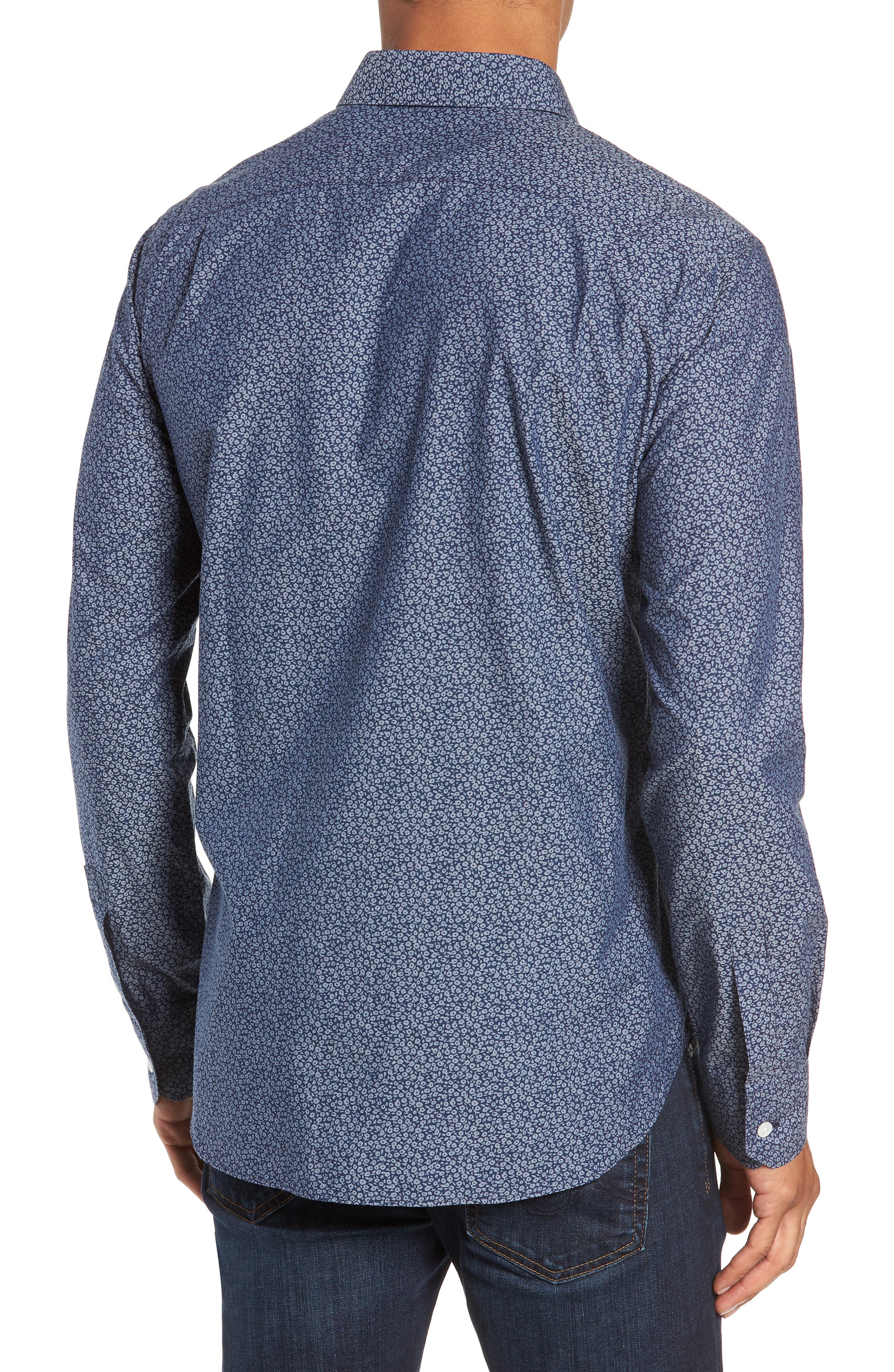 Unbutton Down Slim Fit Sport Shirt,                             Alternate thumbnail 3, color,                             CIELO FLORAL - INDIO