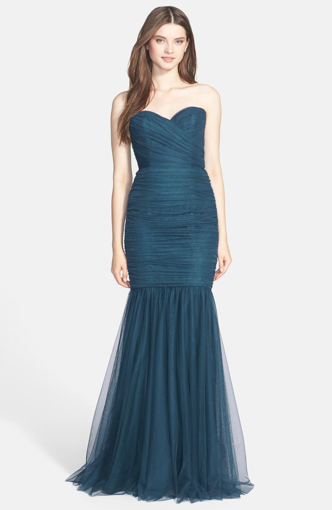 Strapless Tulle Mermaid Gown,                             Main thumbnail 4, color,