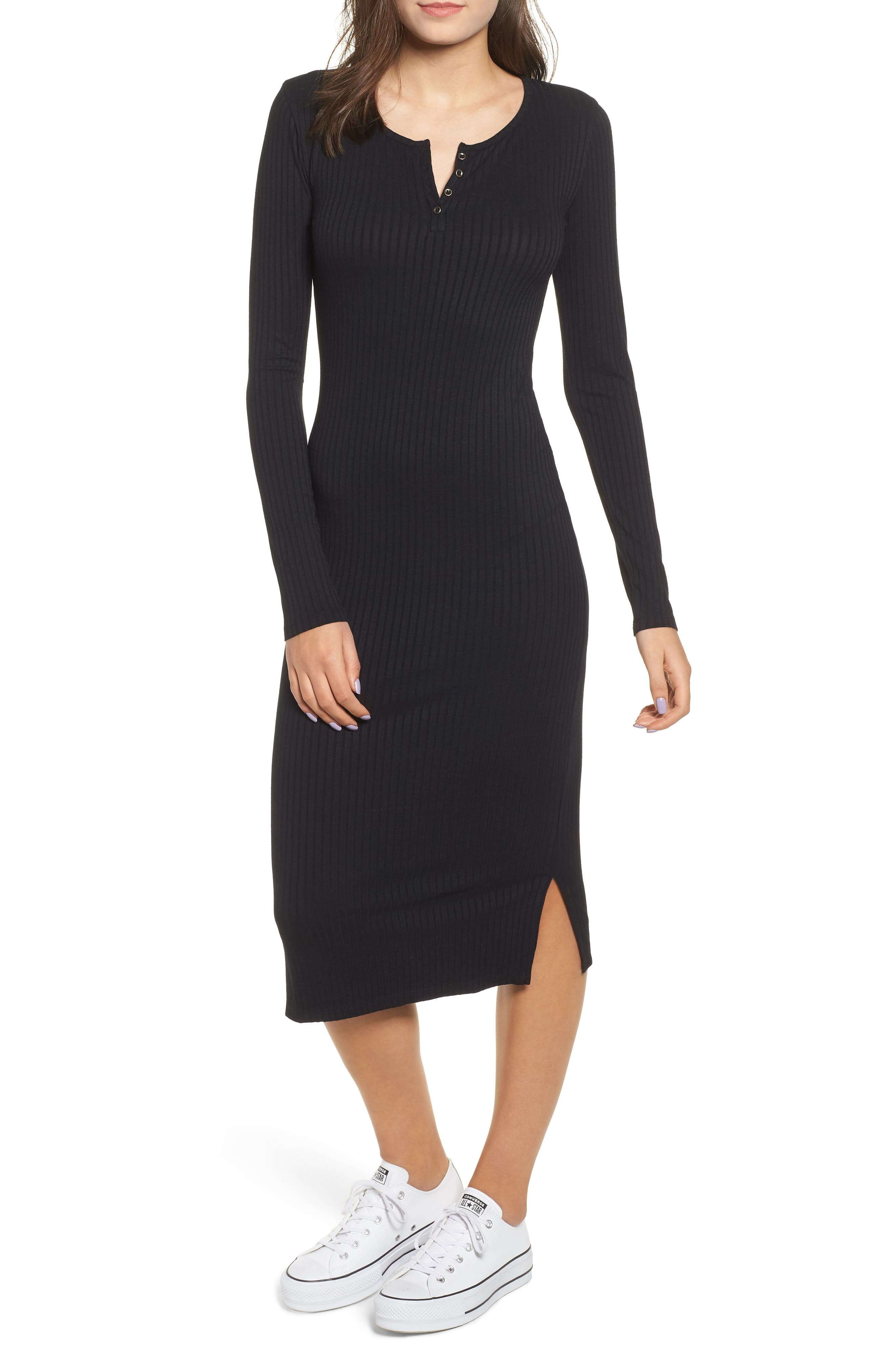 Ribbed Henley Midi Dress,                             Alternate thumbnail 6, color,                             BLACK