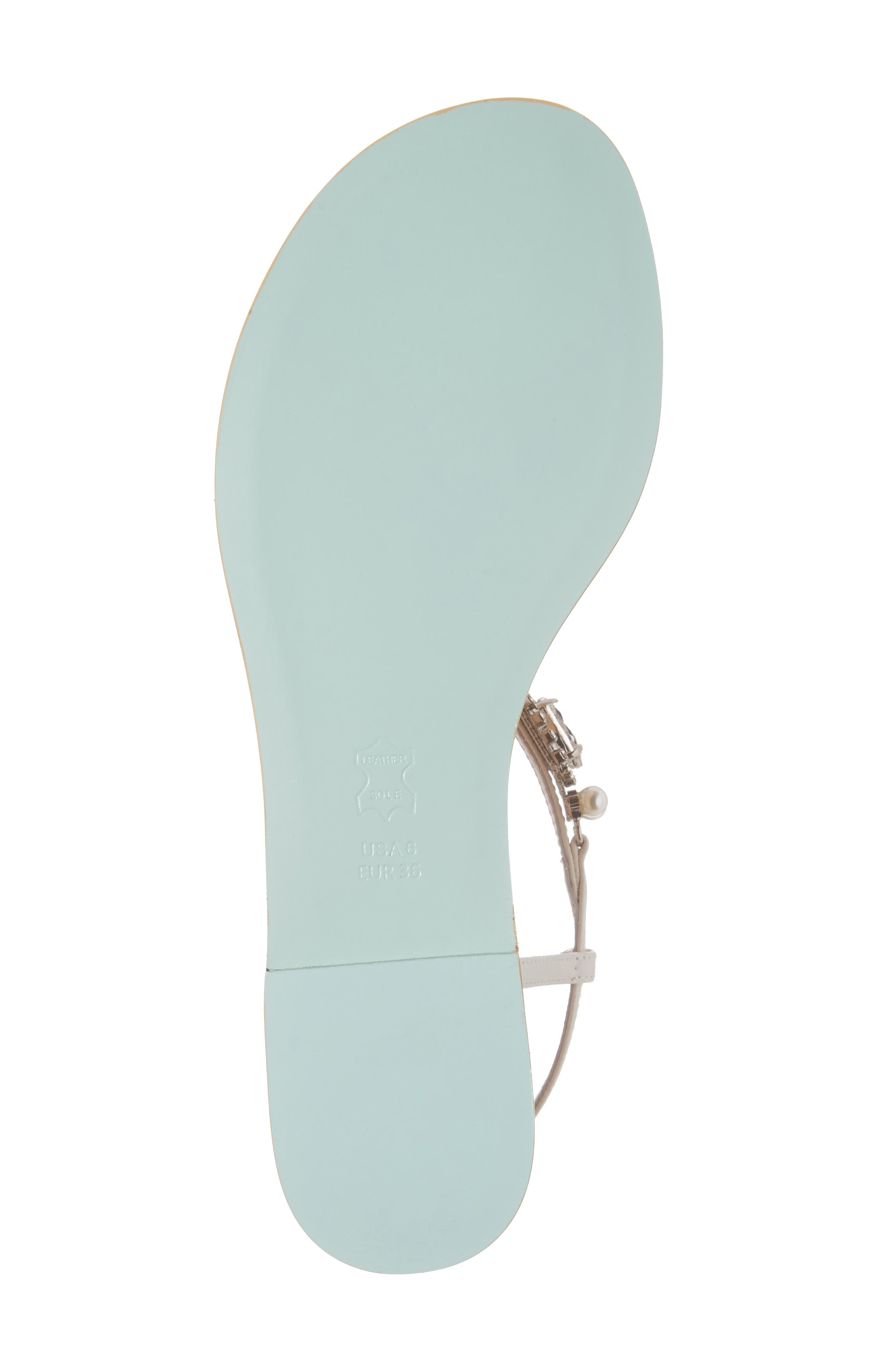 Hera Embellished T-Strap Sandal,                             Alternate thumbnail 6, color,                             OFF WHITE LEATHER