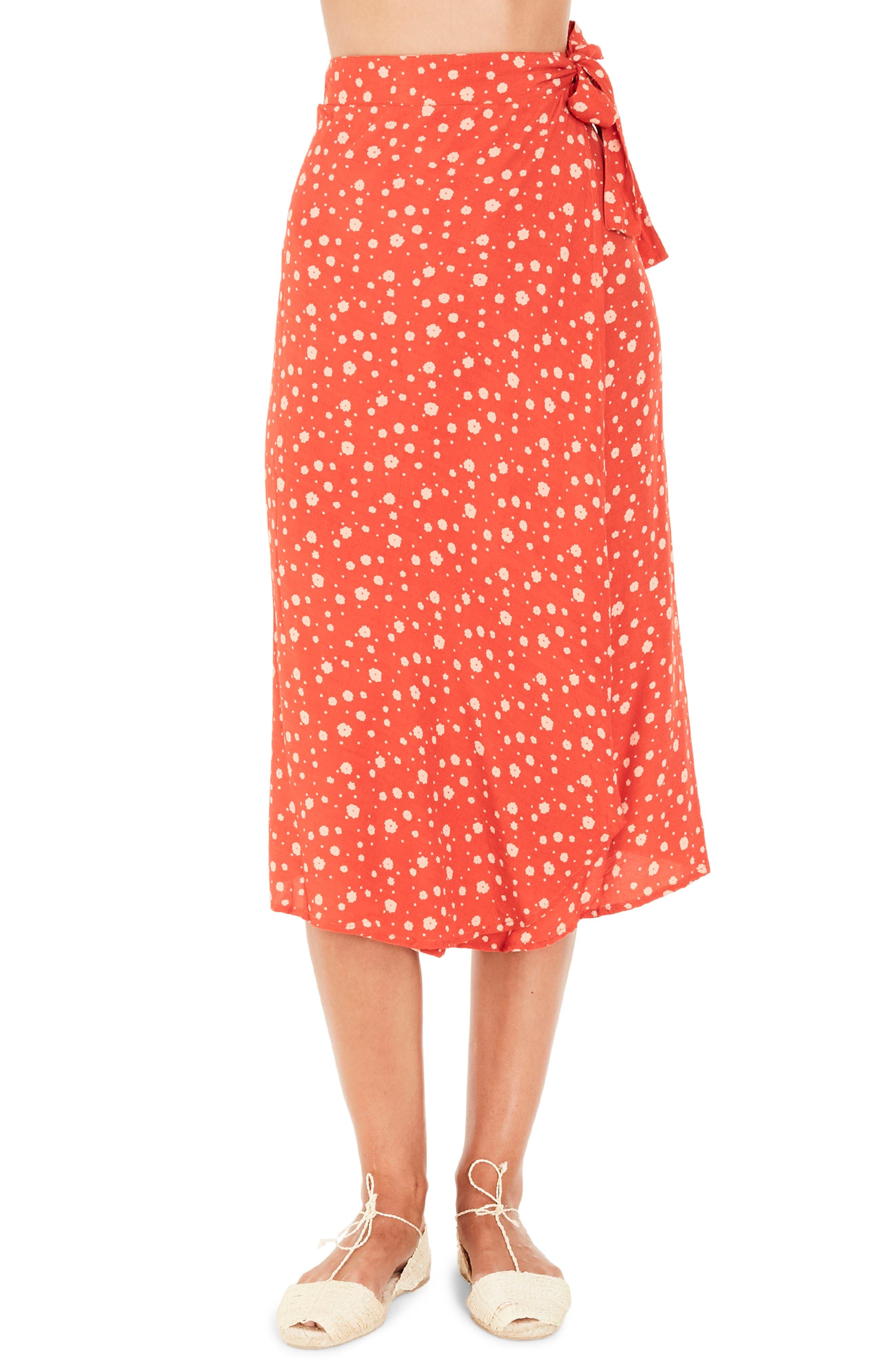 Linnie Wrap Skirt,                         Main,                         color, CHERRY