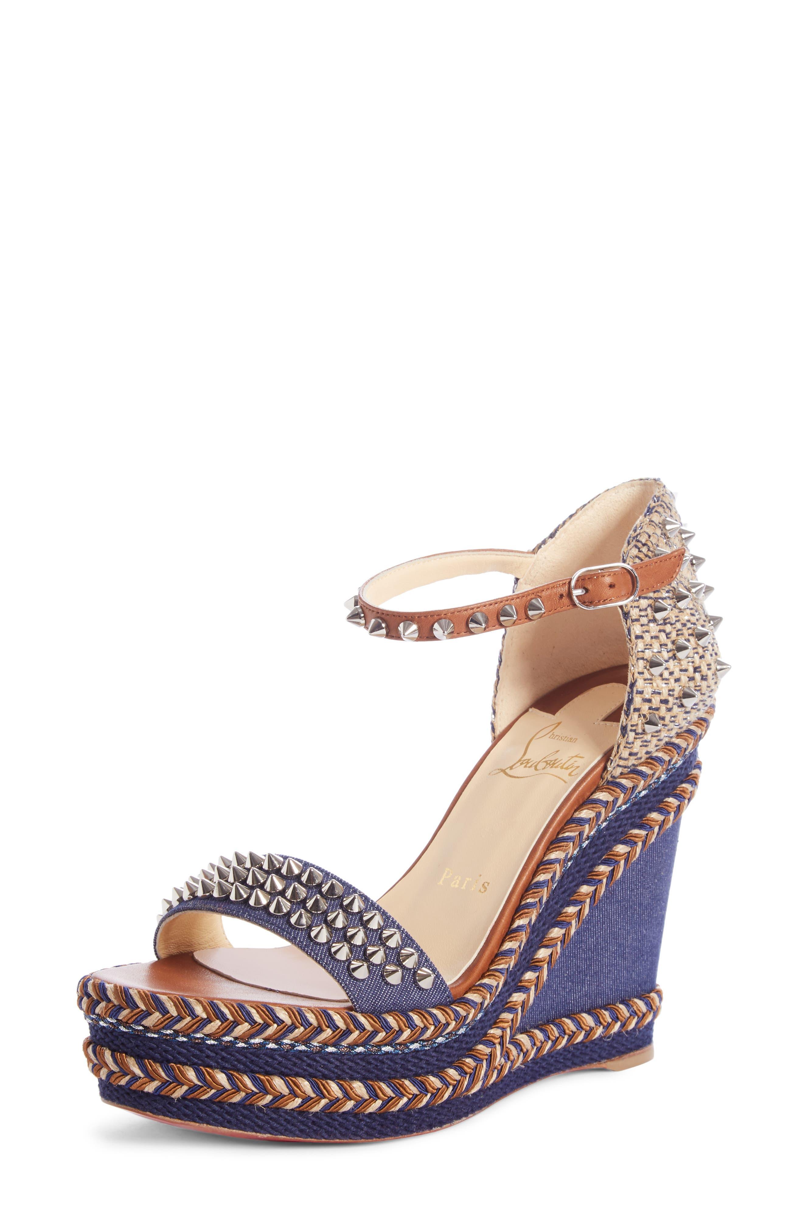 Mad Monica 120 Leather & Denim Platform Wedge Sandals in Blue/ Brown