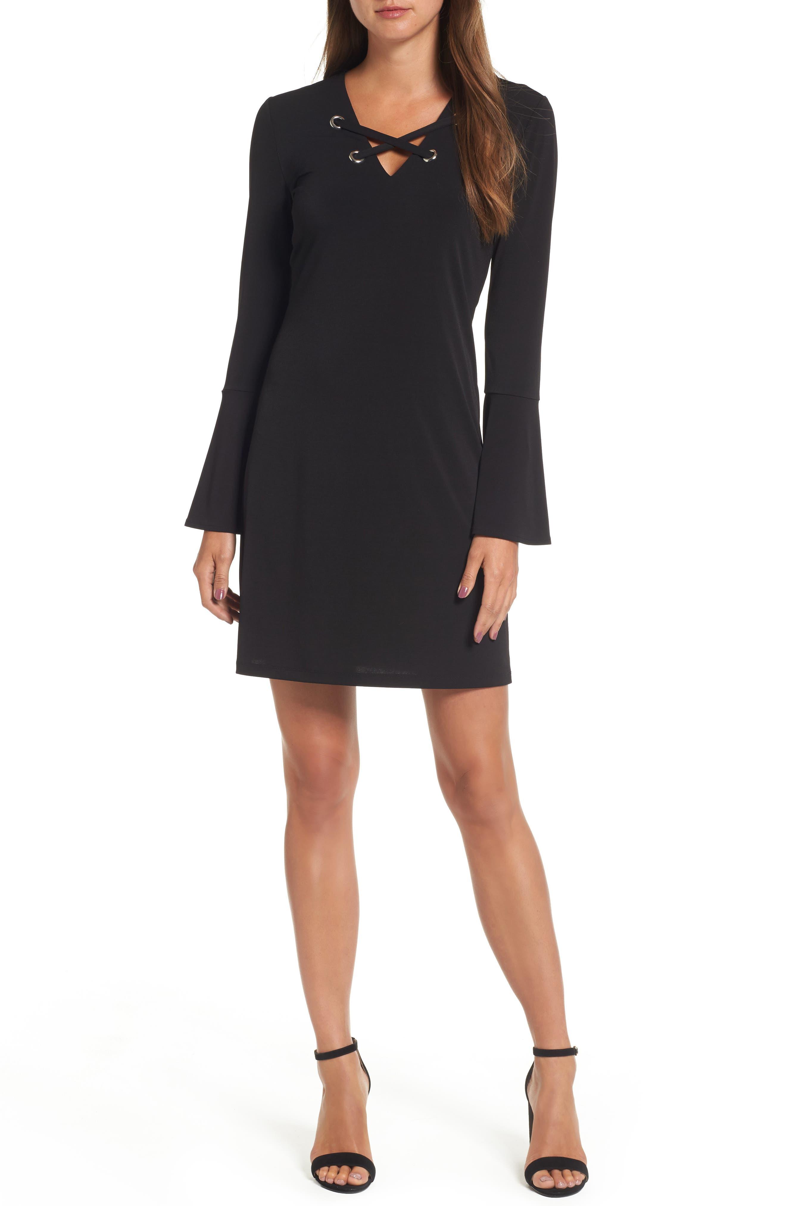 Grommet Lace Shift Dress,                             Main thumbnail 1, color,                             001