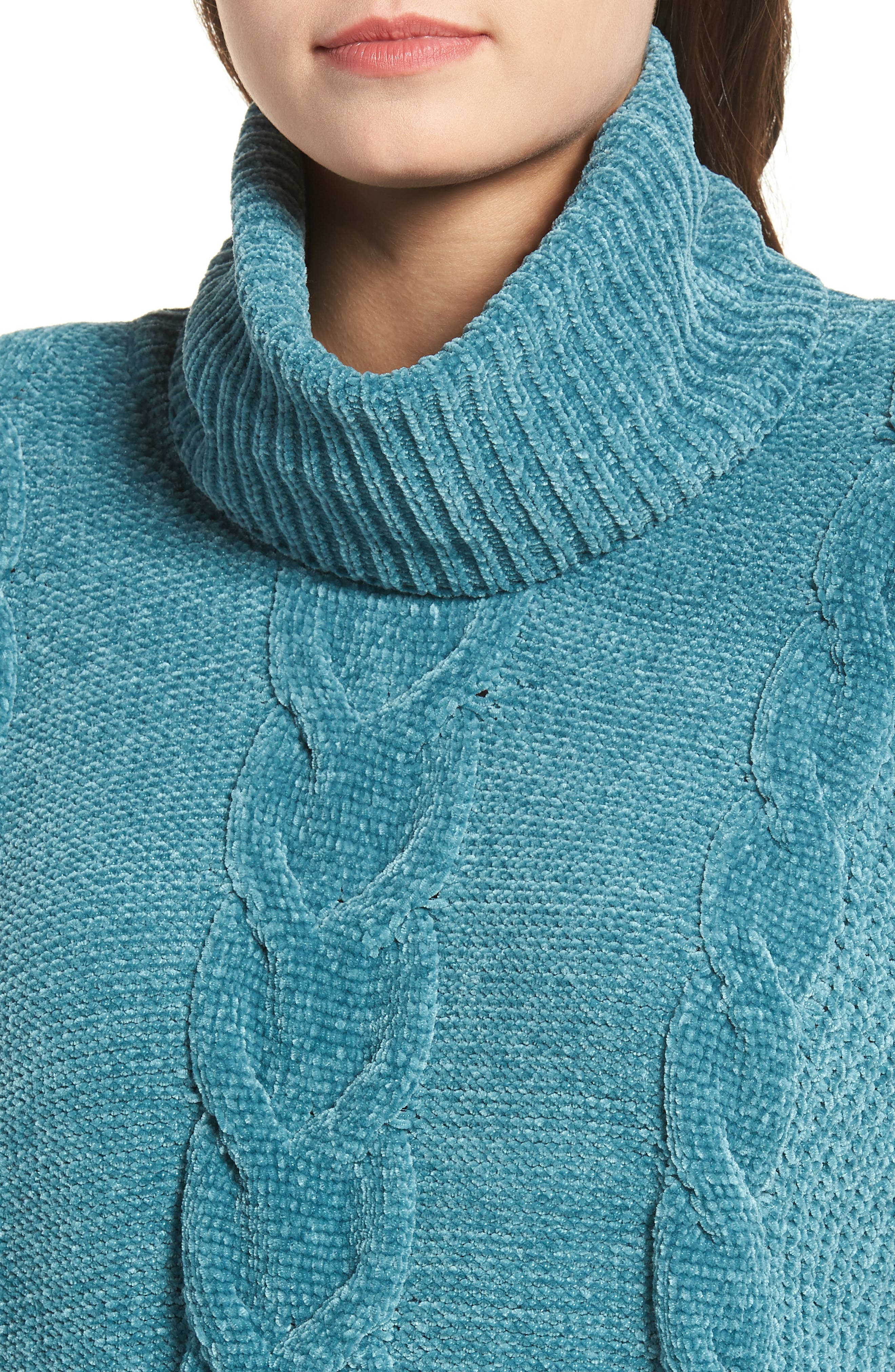 Cable Knit Chenille Sweater,                             Alternate thumbnail 4, color,                             TEAL HYDRO